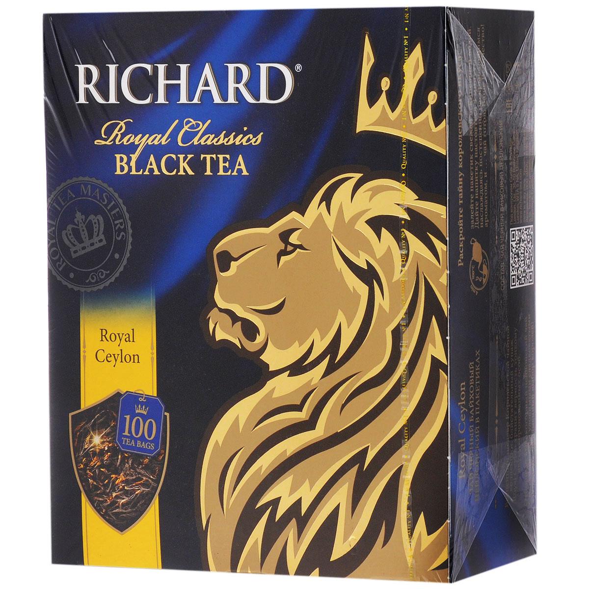 Richard Royal Ceylon черный чай в пакетиках, 100 шт610601Richard Royal Ceylon - черный цейлонский чай в пакетиках, который подарит вам классический вкус и аромат каждое утро.