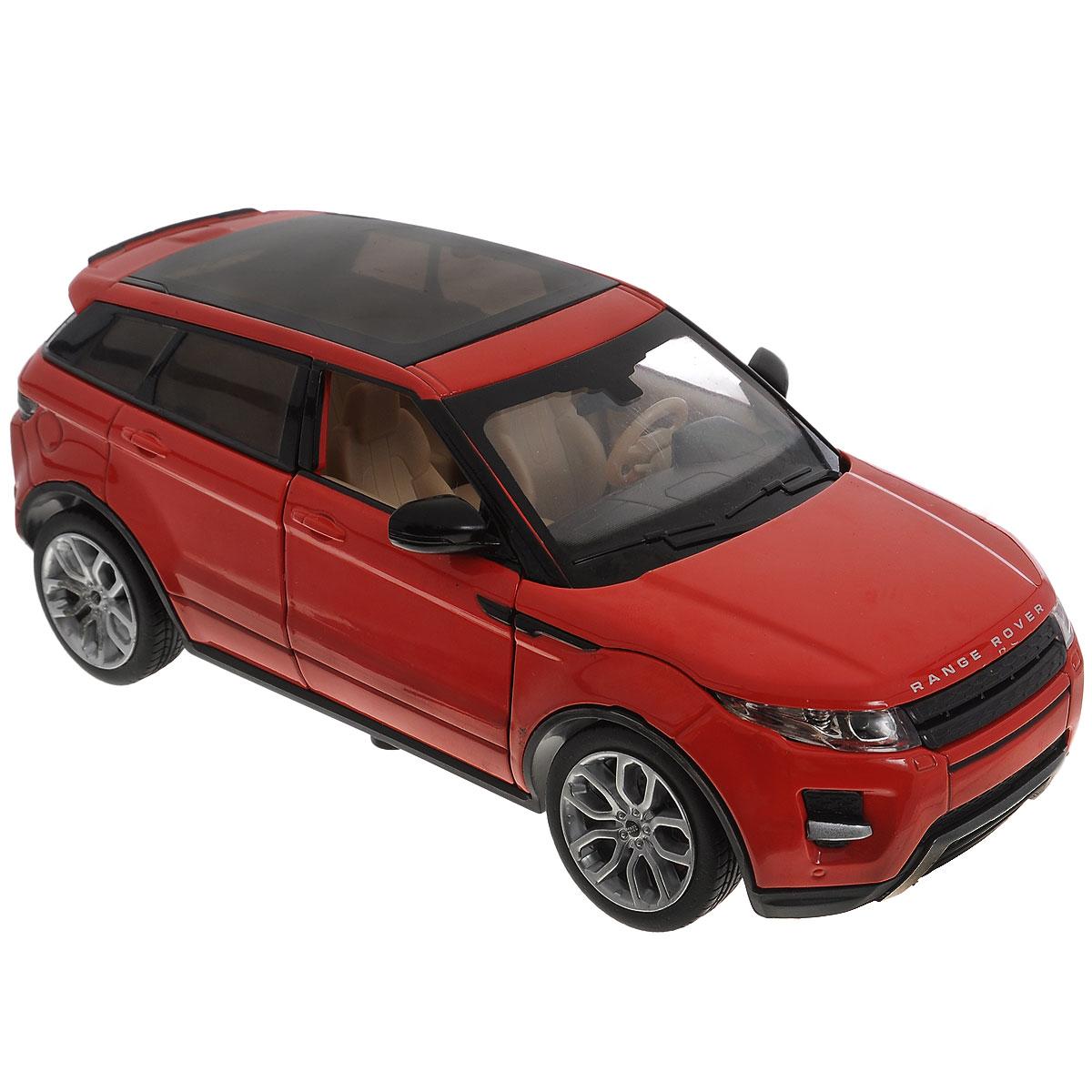 MSZ Машинка инерционная Range Rover Evoque, цвет: красный. Масштаб 1/24CP-68244A_красныйИнерционная модель автомобиля MSZ Range Rover Evoque, выполненная из высококачественного металла и пластика, непременно понравится и ребенку, и взрослому. Модель является точной уменьшенной копией известного автомобиля марки Range Rover Evoque. Игрушечная модель оснащена литым металлическим корпусом, вращающимися колесами из резины. Передние двери и капот машинки открываются, салон детализирован. Игрушка оснащена инерционным ходом, световыми и звуковыми эффектами. Для того чтобы автомобиль поехал вперед, необходимо его отвести назад, а затем отпустить. Прорезиненные колеса обеспечивают надежное сцепление с любой поверхностью пола. Машинка является отличным подарком для каждого ребенка. Во время игры с такой машинкой у ребенка развивается мелкая моторика рук, фантазия и воображение. Необходимо докупить 3 батарейки напряжением 1,5V типа AG13 (не входят в комплект).