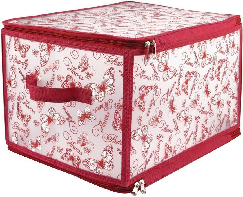 VAL BTF-L Кофр для хранения с застёжкой-молнией, 40*30*25 см, BUTTERFLY, цвет: красный