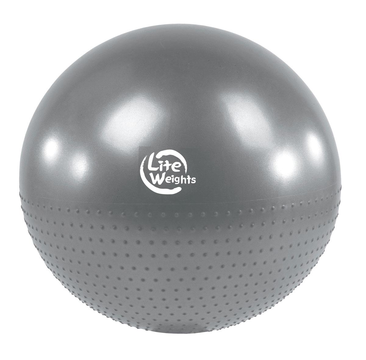 Мяч гимнастический Lite Weights, массажный, цвет: серебристо-серый, диаметр 65 смВВ010-26Гимнастический мяч Lite Weights является универсальным тренажером для всех групп мышц, помогает развить гибкость, исправить осанку, снимает чувство усталости в спине. Мяч незаменим на занятиях фитнесом и физкультурой. Главная функция мяча - снять нагрузку с позвоночника и разгрузить суставы. Именно упражнения с применением гимнастических мячей способны тренировать спину и улучшать осанку, бороться с искривлениями позвоночника, в особенности у детей и подростков. Массажные гимнастические мячи обеспечивают одновременные массаж и тренировку мышц туловища и конечностей, улучшая тонус и увеличивая силу мышц, а также способствуют укреплению кровеносно-сосудистой системы. Гимнастические мячи могут использоваться также при массаже новорожденных. Преимущества мяча: - снабжен системой антивзрыв - специальная технология, предупреждающая мяч от разрыва при сильной нагрузке; - способствует развитию и укреплению мышц спины, пресса, ног и рук; -...