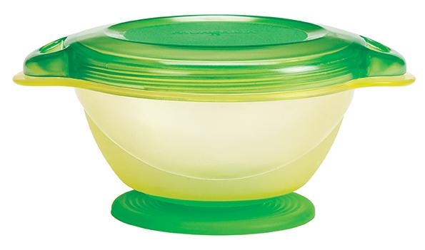 Тарелка детская Click Lock 6+, цвет: желтый, салатовый11382Удобная тарелка с присоской, крышкой и ложечкой.