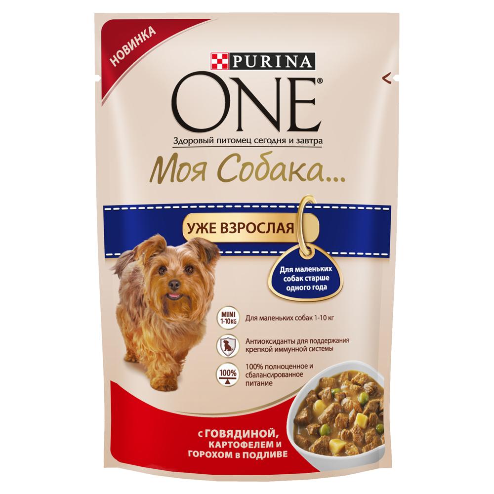PURINA ONE Моя Собака... Уже взрослая консервы 100 гр Говядина, кртофель, горох в подливе12263869Ваша маленькая собака по-настоящему уникальна! Поэтому эксперты Purina разработали серию кормов PURINA ONE® Моя Собака...Высококачественное питание из мягких кусочков и овощей в подливе легко усваивается и разработано специально для маленького рта собаки. Ваша собака сможет наслаждаться вкусным кормом каждый день. • Антиоксиданты для поддержания крепкой иммунной системы • Для маленьких собак 1-10 кг • Легкая усвояемость • 100% полноценное и сбалансированное питание Разделите суточную норму на 2 кормления или более. Указанные нормы рекомендованы для поддержания собаки в оптимальной физической форме. Меняйте суточную норму кормления в зависимости от уровня активности собаки, ее физических особенностей и индивидуальных потребностей. Следите, чтобы у собаки всегда была чистая, свежая питьевая вода. Для контроля здоровья вашей собаки обращайтесь в ветеринарную клинику на регулярной основе.