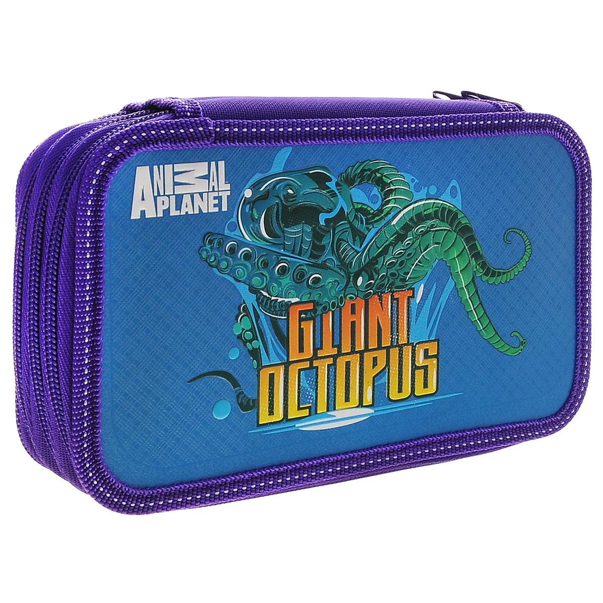 Action! Пенал Animal Planet: Giant Octopus, без наполненияAP-PC03-02_фиолетовый, синийПенал Action! Animal Planet: Giant Octopus, произведенный из качественных материалов, содержит три отделения на молнии. Каждое отделение пенала оснащено держателями для канцелярских принадлежностей. Яркий и красочный пенал вместит в себя все самые необходимые принадлежности для учебы. Пенал Action! станет отличным помощником ребенку во время занятий.