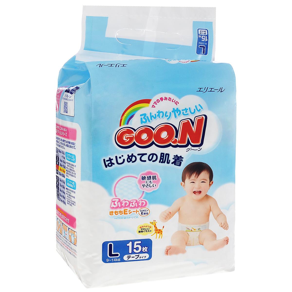 GOON Подгузники L, 9-14 кг, 15 шт753633Японские подгузники Goon изготавливаются только из высококачественных экологически чистых материалов, прошедших специальную обработку, и соответствуют всем санитарно-эпидемиологическим нормам. Невероятно мягкие и нежные подгузники моментально впитывают влагу и долго удерживают её внутри. Содержат натуральный витамин Е, который питает кожу и повышает её защитные функции. Подгузники прекрасно пропускают воздух, предотвращая появление опрелостей. Особенности: Нежно касаются кожи и сидят как обычное бельё. Подходит для чувствительной кожи. 3D рельеф сокращает площадь подгузника, которая касается кожи малыша, исключая опрелости. Жидкий стул впитывается в углубления. Содержит витамин Е. Нежное касание, благодаря воздуху, который задерживается между слоями. Без протеканий на спинке, благодаря резинке на поясе подгузник плотно прилегает. Дышащий внешний слой. Микропоры внешнего слоя пропускают воздух к...