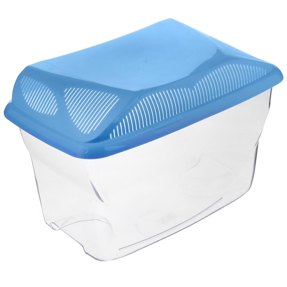 Аквариум-террариум Savic Aqua Smile, цвет: прозрачный, голубой, 14 л0119-0000Аквариум-террариум Savic Aqua Smile, выполненный из высококачественного пластика, идеально подойдет для разведения небольших рыб, водоплавающих черепах, пауков. Изделие оснащено откидной крышкой с отверстиями для прохождения воздуха. Такой аквариум-террариум подходит к дизайну практически любого интерьера. Более того, его можно устанавливать практически в любой части комнаты или офиса, и в последствии без проблем перемещать в другие места. Размер (без учета крышки): 39 см х 24 см х 22,5 см. Высота (с учетом крышки): 28 см. Объем: 14 л.