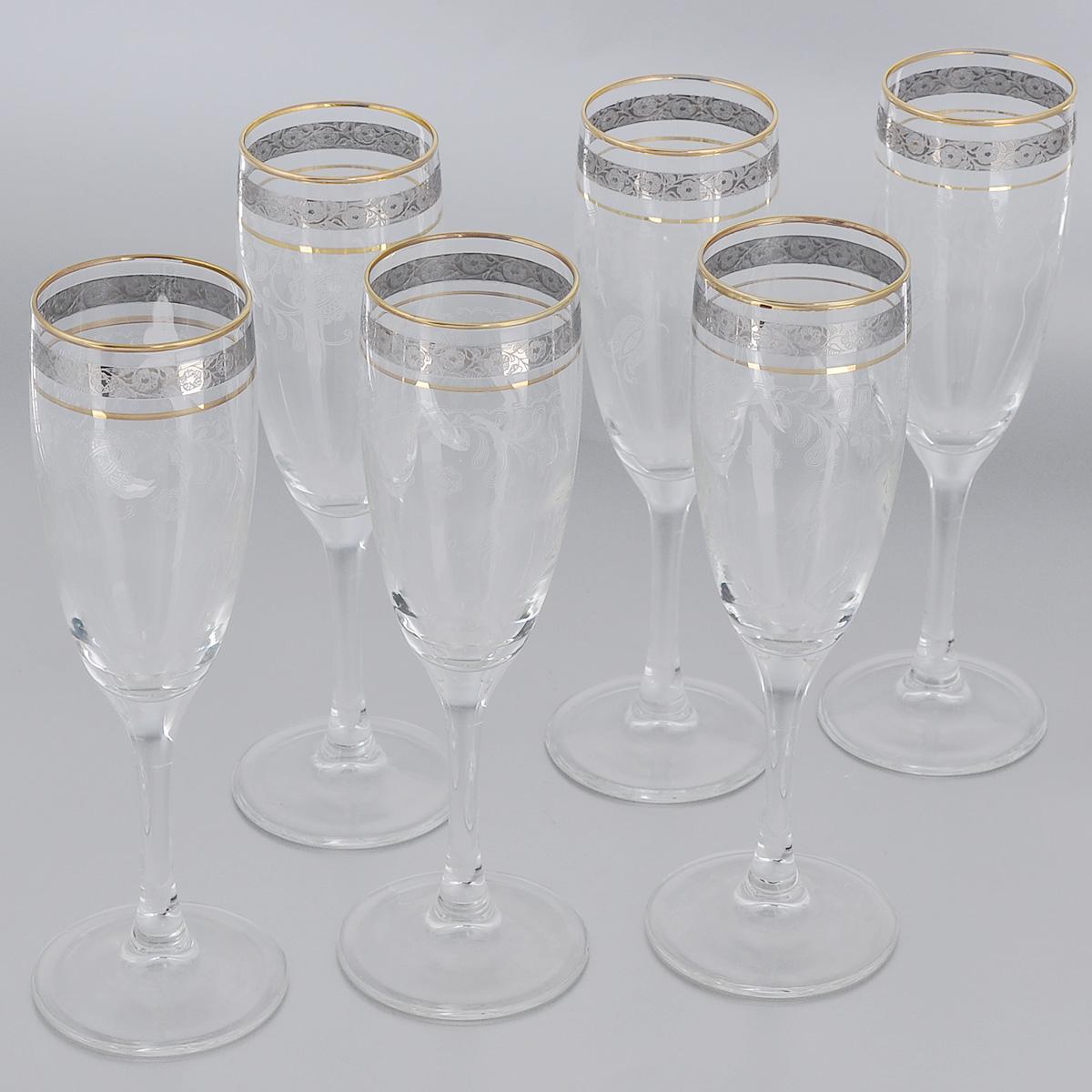 Набор бокалов Гусь-Хрустальный Нежность, 190 мл, 6 штTL34-419Набор Гусь-Хрустальный Нежность состоит из 6 бокалов на длинных тонких ножках, изготовленных из высококачественного натрий-кальций-силикатного стекла. Изделия оформлены красивым зеркальным покрытием и прозрачным орнаментом. Бокалы предназначены для шампанского или вина. Такой набор прекрасно дополнит праздничный стол и станет желанным подарком в любом доме. Разрешается мыть в посудомоечной машине. Диаметр бокала (по верхнему краю): 5 см. Высота бокала: 18,5 см.