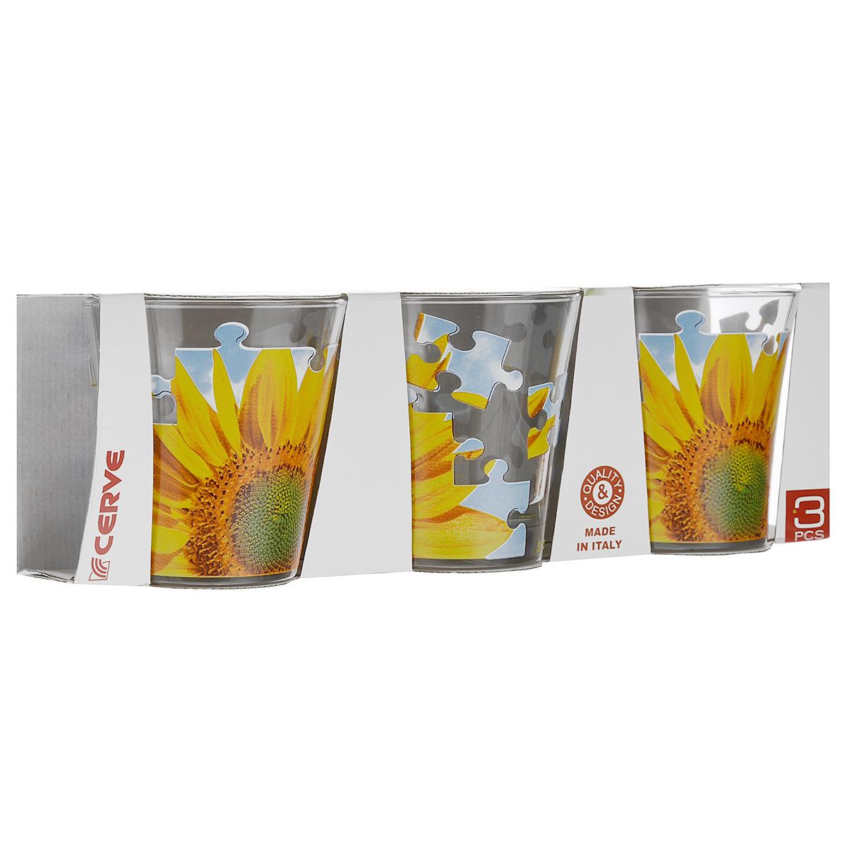 Набор стаканов Cerve Пазл Подсолнух, 250 мл, 3 штCEM42190Набор Cerve Пазл Подсолнух состоит из 3 стаканов, изготовленных из высококачественного стекла. Изделия оформлены изображениями подсолнухов. Такой набор идеально подойдет для сервировки стола и станет отличным подарком к любому празднику. Разрешается мыть в посудомоечной машине. Диаметр стакана (по верхнему краю): 8,5 см. Высота стакана: 9 см.