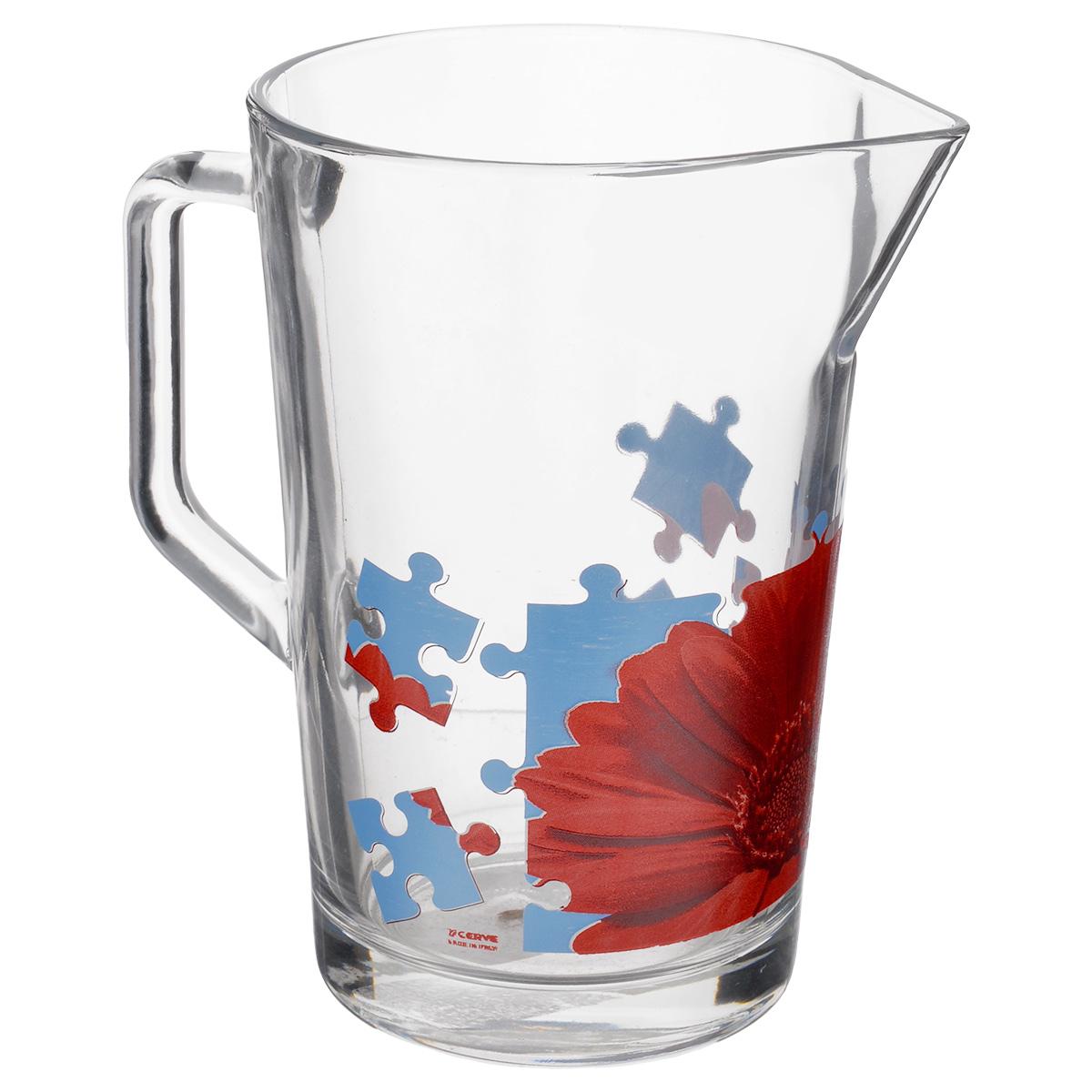 Кувшин Cerve Пазл Гербера, 1,3 лCEM42280Кувшин Cerve Пазл Гербера, выполненный из высококачественного стекла, оформлен изображением герберы в виде пазла. Он оснащен удобной ручкой и прост в использовании, достаточно просто наклонить его и налить ваш любимый напиток. Изделие прекрасно подойдет для подачи воды, сока, компота и других напитков. Кувшин Cerve Пазл Гербера дополнит интерьер вашей кухни и станет замечательным подарком к любому празднику. Диаметр (по верхнему краю): 11,5 см. Высота кувшина: 18 см.