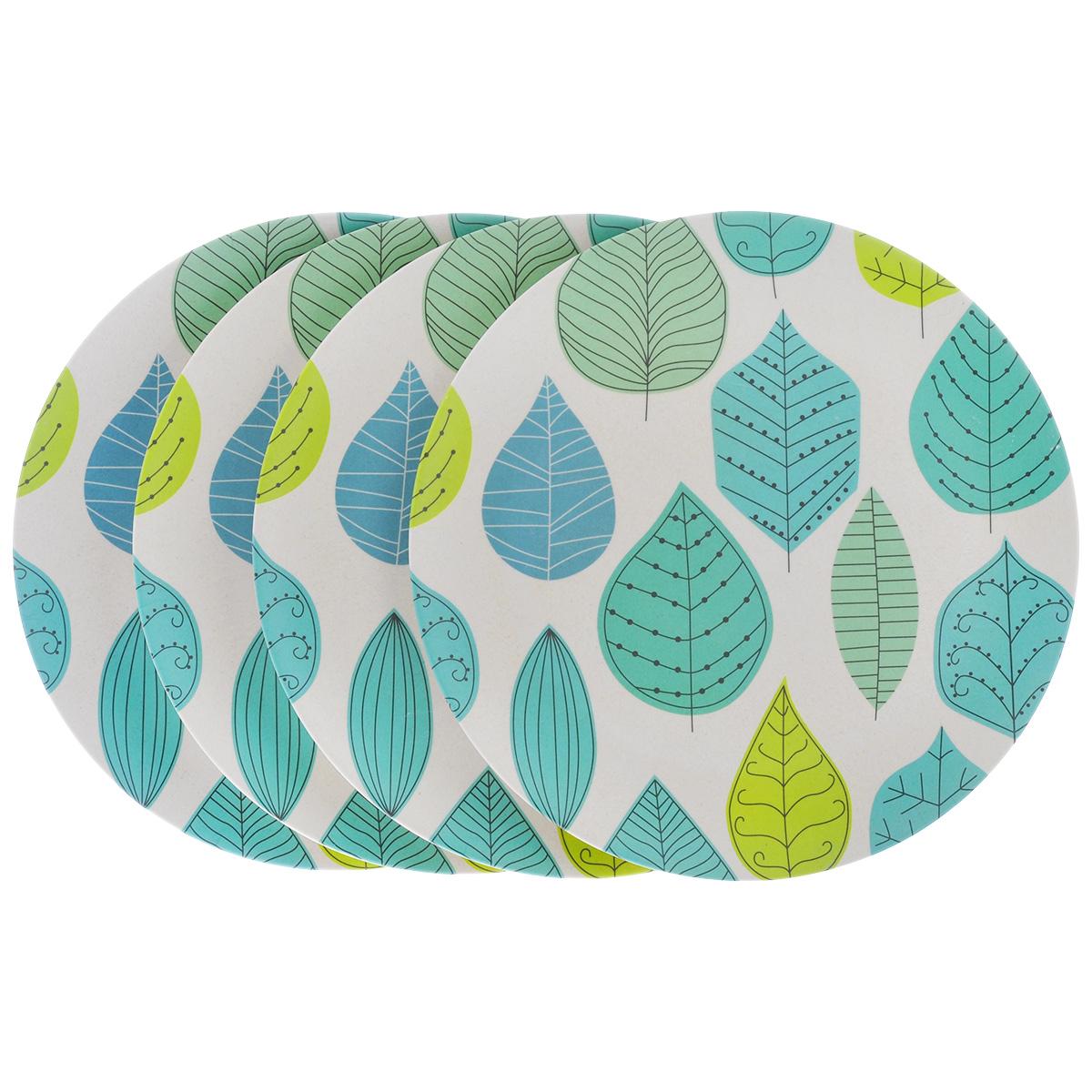 Набор обеденных тарелок EcoWoo Листья, диаметр 25,5 см, 4 шт2004163U-4Набор EcoWoo Листья состоит из 4 обеденных тарелок для вторых блюд, выполненных из экологически чистого бамбукового волокна. Такие тарелки имеют неоспоримые преимущества по сравнению с тарелками из других материалов. Они безопасные для здоровья и окружающей среды, биоразлагаемые, небьющиеся. Стильный дизайн прекрасно впишется в интерьер современной кухни. Можно мыть в посудомоечной машине. Не рекомендуется использовать в СВЧ. Диаметр тарелки: 25,5 см.