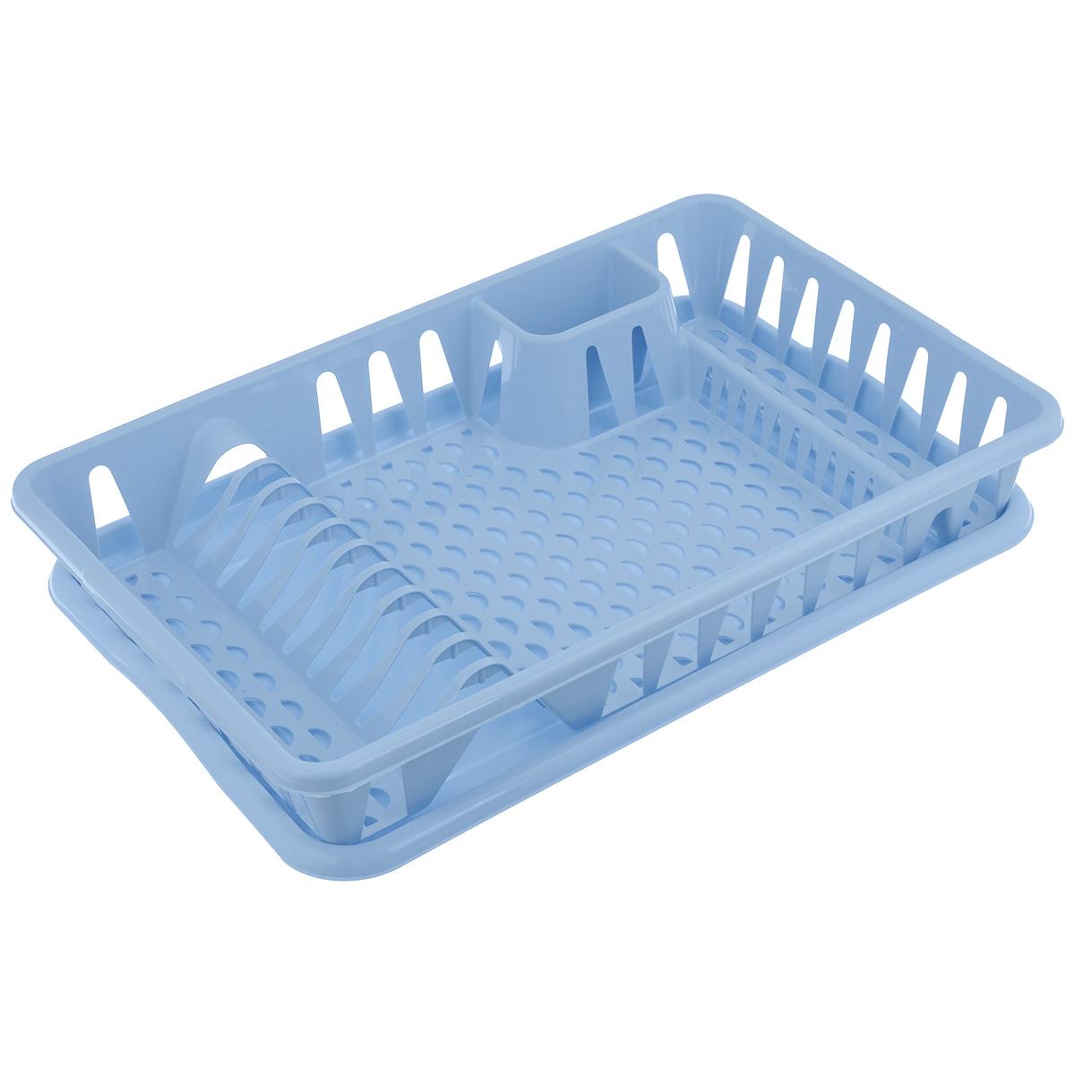 Сушилка для посуды Idea, с поддоном, цвет: голубой, 50 см х 32,5 см х 8 смМ 1169Сушилка Idea, выполненная из прочного пластика, представляет собой решетку с ячейками, в которые помещается посуда: тарелки, кружки, ложки, ножи. Изделие оснащено пластиковым поддоном для стекания воды. Сушилку можно установить в любом удобном месте. На ней можно разместить большое количество предметов. Вместительные размеры и оригинальный дизайн выделяют эту сушку из ряда подобных. Размер сушилки: 46,5 см х 37 см х 9 см. Размер поддона: 48,5см х 32 см х 2,5 см.