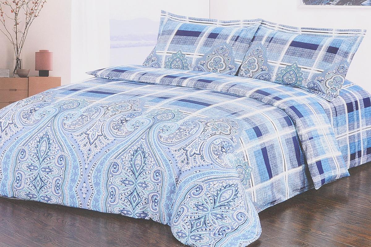 Комплект белья Soft Line, 2-спальный, наволочки 50х70, цвет: белый, синий, голубой. 1031810318Комплект белья Soft Line, выполненный из сатина (100% хлопок), состоит из пододеяльника, простыни и двух наволочек. Изделия оформлены ярким принтом. Постельное белье из сатина очень прочное и долговечное. Такой комплект выдержит многократное количество стирок, а яркие цвета не начнут тускнеть очень продолжительное время. Сатин практически не мнется, не электризуется, великолепно впитывает влагу и отлично вентилируется.