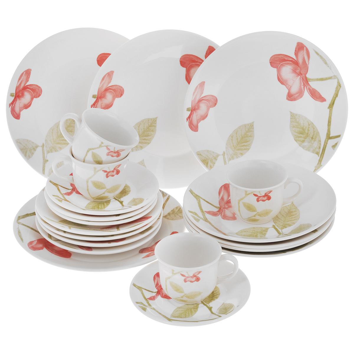 Набор столовый Biona Beauty, 20 предметов1481BEAUTY26-5Столовый набор Biona Beauty состоит из 4 обеденных тарелок, 4 суповых тарелок, 4 десертных тарелок, 4 блюдец и 4 кружек. Изделия выполнены из высококачественной экологически чистой керамики, которая изготавливается путем спекания глин с минеральными добавками. В качестве покрытия используется глазурь, что подтверждено сертификатами качества и соответствует всем международным санитарным нормам. Изделия оформлены красивым цветочным рисунком - традиционным для данной марки, который наносится исключительно вручную. Еще одной особенностью марки является использование экологически чистой упаковки - эксклюзивный деревянный ящик с соломой внутри. Посуда легко моется в посудомоечных машинах, термостойкая (пищу можно подогреть в микроволновой печи, в духовом шкафу). Диаметр обеденной тарелки: 26 см. Диаметр суповой тарелки: 22 см. Диаметр десертной тарелки: 19 см. Диаметр блюдца: 16,5 см. Объем чашки: 200 мл. Диаметр чашки (по верхнему...