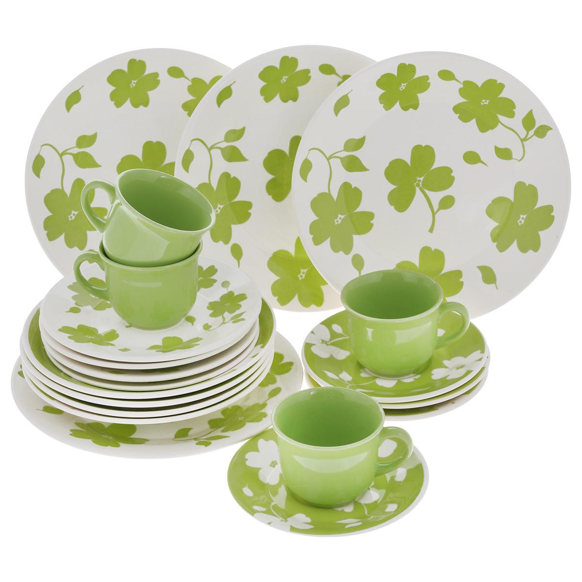 Набор столовый Biona Жасмин, 20 предметов7461JASMIN26-5Столовый набор Biona Жасмин состоит из 4 обеденных тарелок, 4 суповых тарелок, 4 десертных тарелок, 4 блюдец и 4 кружек. Изделия выполнены из высококачественной экологически чистой керамики, которая изготавливается путем спекания глин с минеральными добавками. В качестве покрытия используется глазурь, что подтверждено сертификатами качества и соответствует всем международным санитарным нормам. Изделия оформлены красивым цветочным рисунком - традиционным для данной марки, который наносится исключительно вручную. Еще одной особенностью марки является использование экологически чистой упаковки - эксклюзивный деревянный ящик с соломой внутри. Посуда легко моется в посудомоечных машинах, термостойкая (пищу можно подогреть в микроволновой печи, в духовом шкафу). Диаметр обеденной тарелки: 26 см. Диаметр суповой тарелки: 22 см. Диаметр десертной тарелки: 19 см. Диаметр блюдца: 16,5 см. Объем чашки: 200 мл. Диаметр чашки...