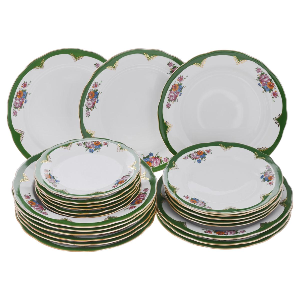 Набор тарелок Дулевский фарфор Воспоминание, 24 штС261Набор Дулевский фарфор Воспоминание состоит из 24 тарелок разного диаметра - 6 блюдец, 6 десертных тарелок, 6 суповых тарелок и 6 обеденных тарелок. Изделия выполнены из минерального, экологически чистого сырья - фарфора, покрытого высококачественной глазурью. Изделия украшены золотистой эмалью и изысканным цветочным орнаментом, который отличается невероятной красотой и качеством прорисовки. Края посуды гладкие, слегка волнистые, с золотистой каймой. Такой набор станет изысканным украшением стола. Качество исполнения и роскошный дизайн сделают его замечательным подарком. Завод Дулевский фарфор основан в 1832 году и является крупнейшим фарфоровым предприятием в России. Продукция завода является украшением многих музеев и пользуется спросом у коллекционеров всего мира. Предприятие отличает огромный исторический опыт, широкая география поставок, разнообразие производимого фарфора. Диаметр блюдца: 17,5 см. Диаметр десертной тарелки: 20 см. ...