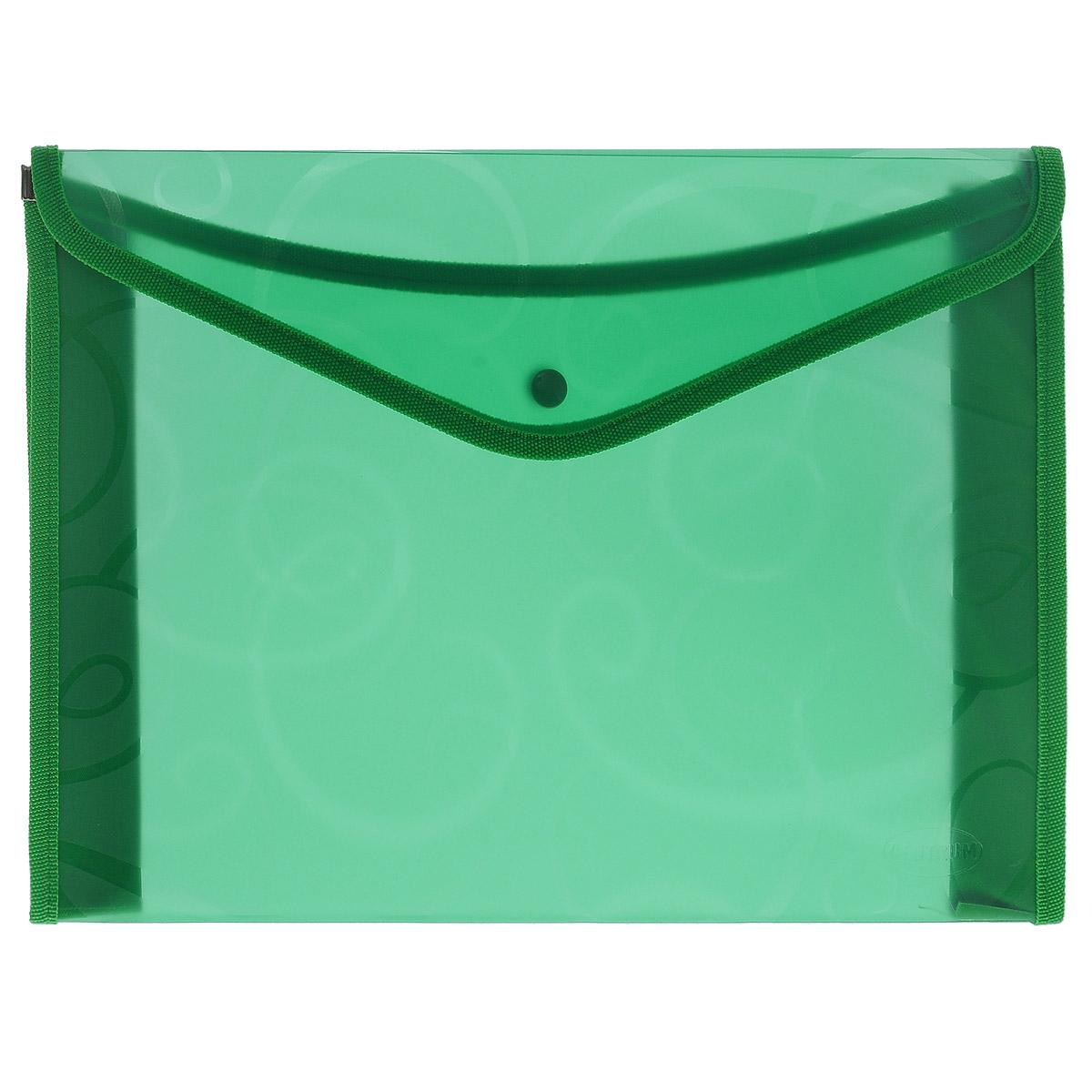 Centrum Папка-конверт на кнопке, цвет: зеленый, формат А480804Папка-конверт Centrum - это удобный и функциональный офисный инструмент, предназначенный для хранения и транспортировки рабочих бумаг и документов формата А4. Папка изготовлена из прочного полупрозрачного пластика, оформлена узором и по канту обработана текстилем. Закрывается на практичную крышку с кнопкой. Папка-конверт - это незаменимый атрибут для студента, школьника, офисного работника. Такая папка надежно сохранит ваши документы и сбережет их от повреждений, пыли и влаги.