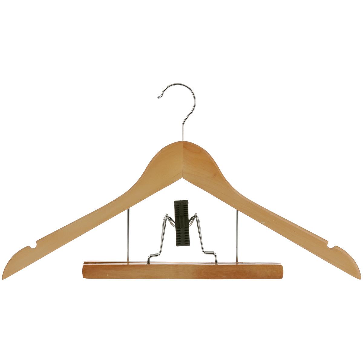 Вешалка Miolla, с зажимом для брюк, 44 см2511008Вешалка Miolla, изготовленная из дерева, предназначена для аккуратного хранения одежды. Вешалка снабжена двумя выемками для юбок и специальным зажимом для брюк. Створки зажима имеют специальные мягкие накладки, чтобы не повредить ткань. Вешалка - это незаменимый аксессуар для того, чтобы ваша одежда всегда оставалась в хорошем состоянии.