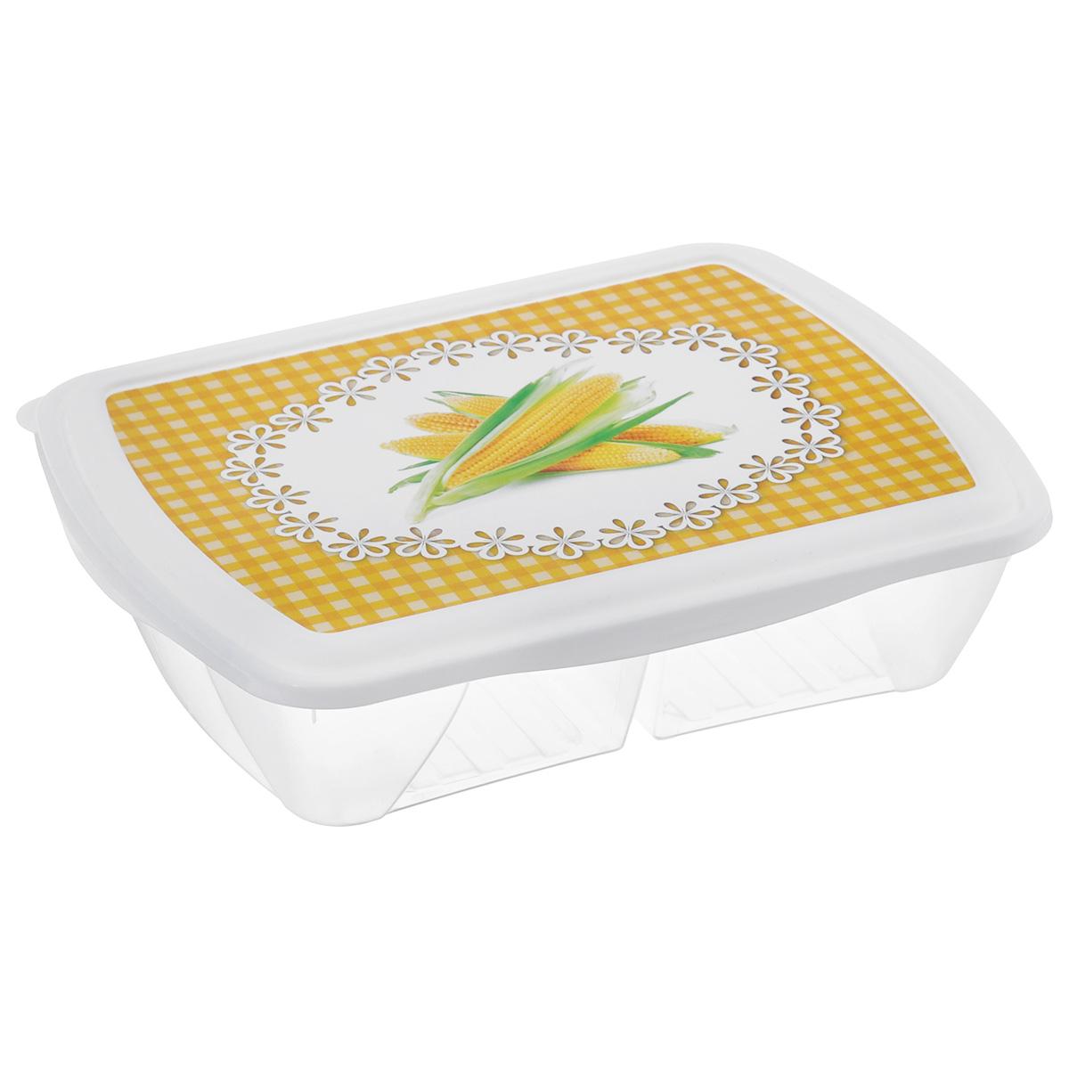 Контейнер двухсекционный Phibo Рондо. Кукуруза, 1,25 лС11737Контейнер Phibo Рондо изготовлен из пищевого пластика, устойчивого к высоким температурам. Крышка плотно закрывается, дольше сохраняя еду свежей и вкусной. Контейнер снабжен 2 секциями, которые позволяют хранить сразу несколько продуктов или блюд. Такой контейнер удобно брать с собой на работу, учебу, пикник или просто использовать для хранения продуктов в холодильнике. Подходит для разогрева пищи в микроволновой печи и для заморозки в морозильной камере. Можно мыть в посудомоечной машине.