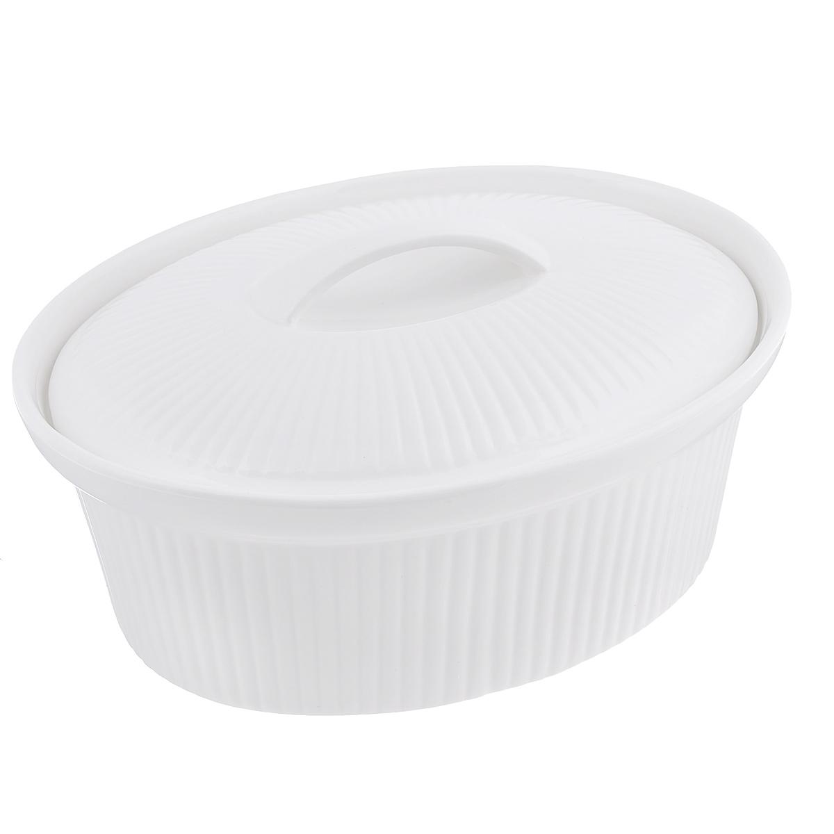 Кастрюля BergHOFF Bianco с крышкой, цвет: белый, 2 л1691152Овальная кастрюля BergHOFF Bianco изготовлена из высококачественной глазурованной керамики. Идеально подходит для запекания овощей, рыбы и мяса. Такая кастрюля легко чистится и устойчива к царапинам и пятнам. Благодаря керамическому дну, мягко проводит тепло для равномерного запекания и зажаривания. Изделие можно использовать в духовке и СВЧ-печи. Можно мыть в посудомоечной машине. Высота стенки: 10,5 см. Толщина стенки: 0,5 см. Толщина дна: 0,6 см. Размер кастрюли (по верхнему краю): 26 см х 20 см.