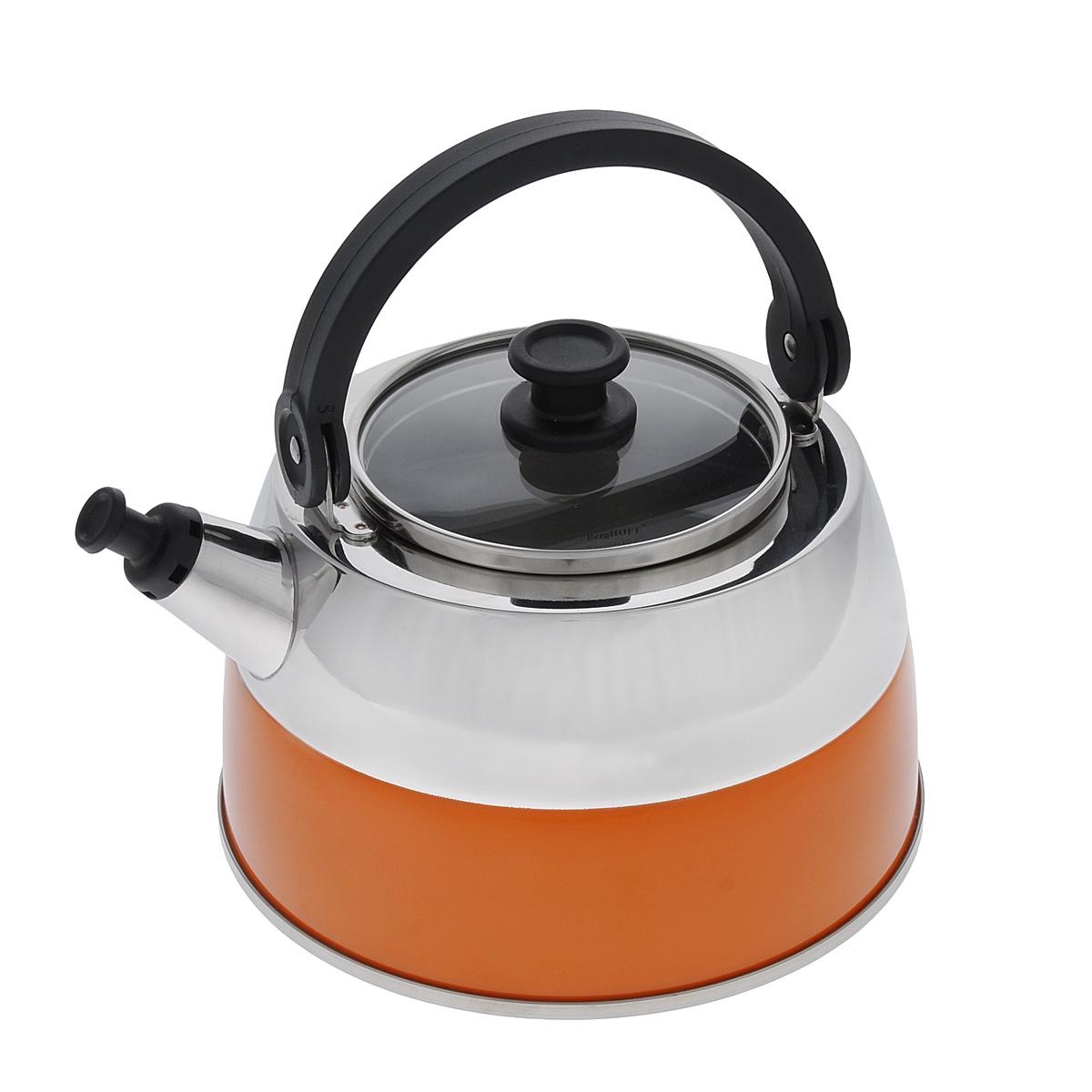 Чайник BergHOFF Virgo Orange, со свистком, 2,5 л2304168Чайник BergHOFF Virgo Orange изготовлен из высококачественной нержавеющей стали 18/10, которая обладает бактериостатическими свойствами. Сталь 18/10 - один из наиболее тонких и сбалансированных сплавов, используемых во всем мире, который гарантирует высокую химическую нейтральность к пище, обладает высокими антикоррозионными свойствами. Изделие оснащено стеклянной крышкой с ободом из нержавеющей стали и ручкой из бакелита. Носик чайника имеет насадку-свисток, что позволит вам контролировать процесс подогрева или кипячения воды. Высокоэффективный чайник продуктивно проводит тепло для быстрого закипания. Подходит для всех типов плит, включая индукционные. Рекомендуется мыть вручную. Диаметр чайника (по верхнему краю): 11 см. Высота чайника (с учетом ручки): 21 см. Высота чайника (без учета ручки): 11 см.
