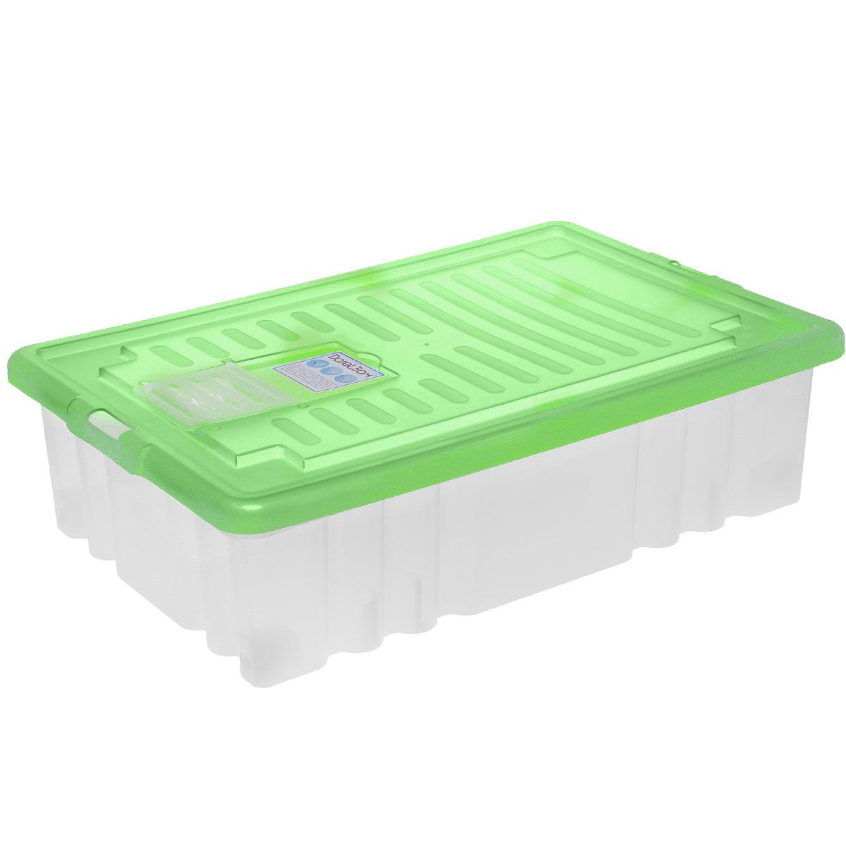 Ящик Darel Box, с крышкой, цвет: прозрачный, салатовый, 36 лЯФ0136Прямоугольный ящик Darel Plastic изготовлен из высокопрочного полипропилена (пластика). Ящик можно использовать в квартире, в автомобиле, на даче, в кладовой. В нем удобно хранить продукты, текстиль, игрушки, различные аксессуары и бытовые предметы. Ящик снабжен цветной крышкой. Специальный клапан предназначен для антимолиевых и дезодорирующих средств. Колесики обеспечивают удобство передвижения, они могут принимать два положения: утопленное - для хранения, и рабочее - для передвижения бокса. Такой ящик пригодится в любом хозяйстве. Он поможет хранить вещи в одном месте, а также защитить их от пыли, грязи и влаги.