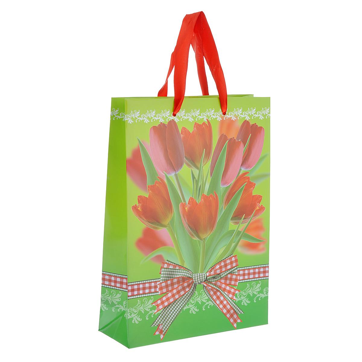 Пакет подарочный Тюльпаны, 25 см х 35 см х 9 см4610009211664Подарочный пакет Тюльпаны выполнен из плотной ламинированной бумаги с красочным цветочным рисунком. Дизайн очень яркий и заряжает весенним настроением. Дно изделия укреплено плотным картоном, который позволяет сохранить форму пакета и исключает возможность деформации под тяжестью подарка. Для удобной переноски на пакете имеются две атласные ручки. Подарок, преподнесенный в оригинальной упаковке, всегда будет самым эффектным и запоминающимся. Окружите близких людей вниманием и заботой, вручив презент в нарядном, праздничном оформлении.