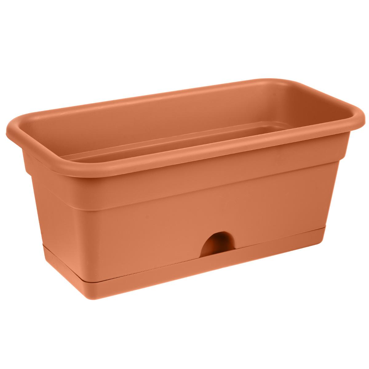 Балконный ящик Darel Plastic, с поддоном, цвет: терракотовый, 40 см х 20 см х 17 смЯБ0140Балконный ящик Darel Plastic изготовлен из прочного полипропилена (пластика). Снабжен поддоном для стока воды. Система нижнего полива очень удобна для отдельного вида растений - при этом вода наливается не сверху, а внутрь поддона. Изделие прекрасно подходит для выращивания рассады, растений и цветов в домашних условиях.