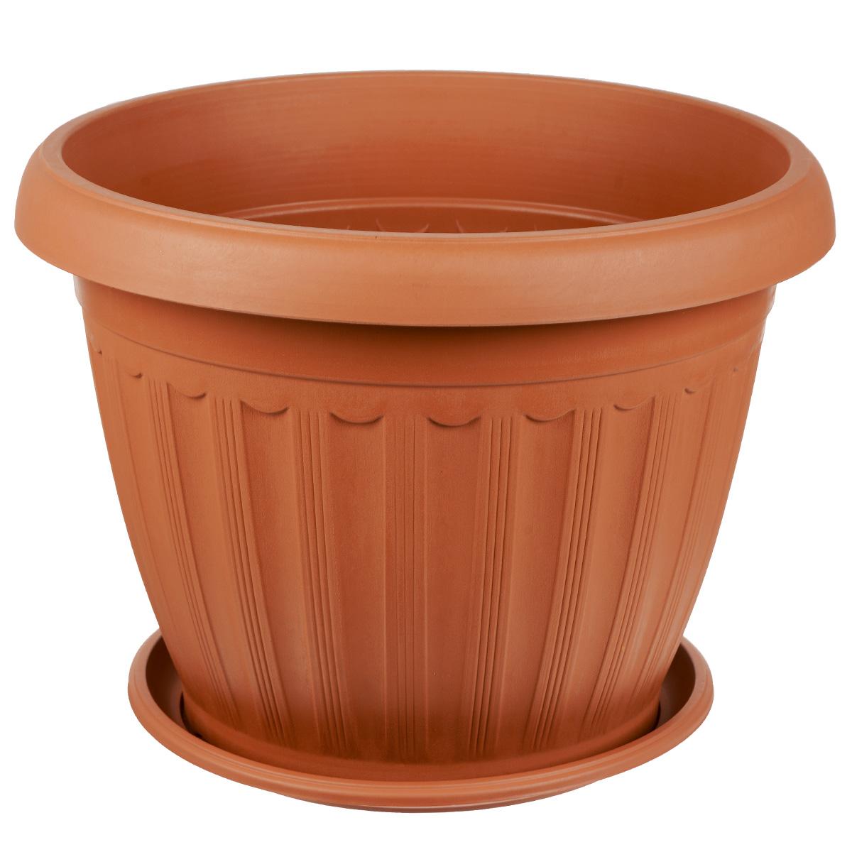 Кашпо Greenell Церера, с поддоном, цвет: терракотовый, 15 лХТ2009Кашпо Greenell Церера изготовлено из высококачественного пластика. Специальный поддон предназначен для стока воды. Изделие прекрасно подходит для выращивания растений и цветов в домашних условиях. Лаконичный дизайн впишется в интерьер любого помещения. Объем: 15 л. Диаметр поддона: 26,5 см.