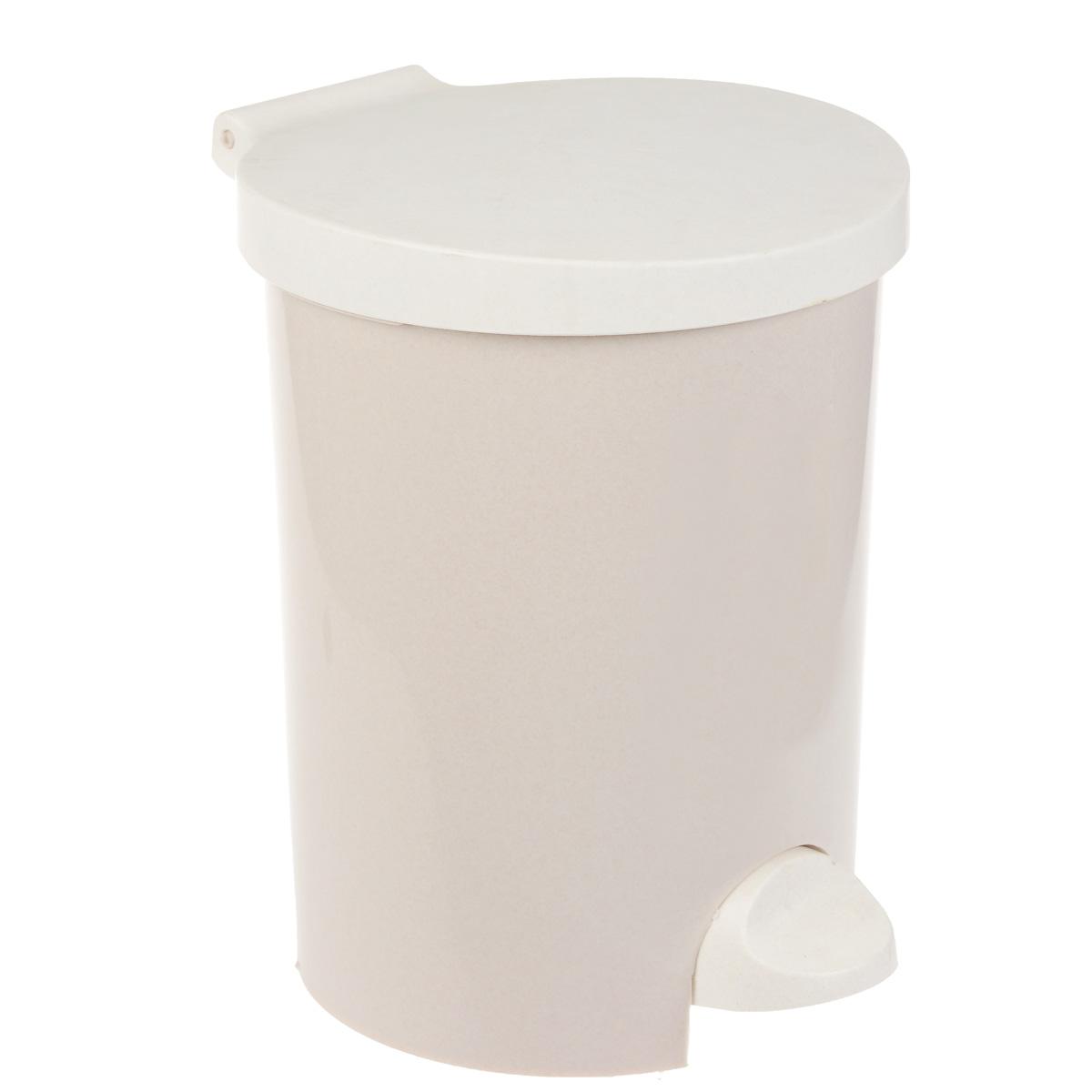 """Контейнер для мусора """"Curver"""", с педалью, цвет: бежевый, 15 л"""