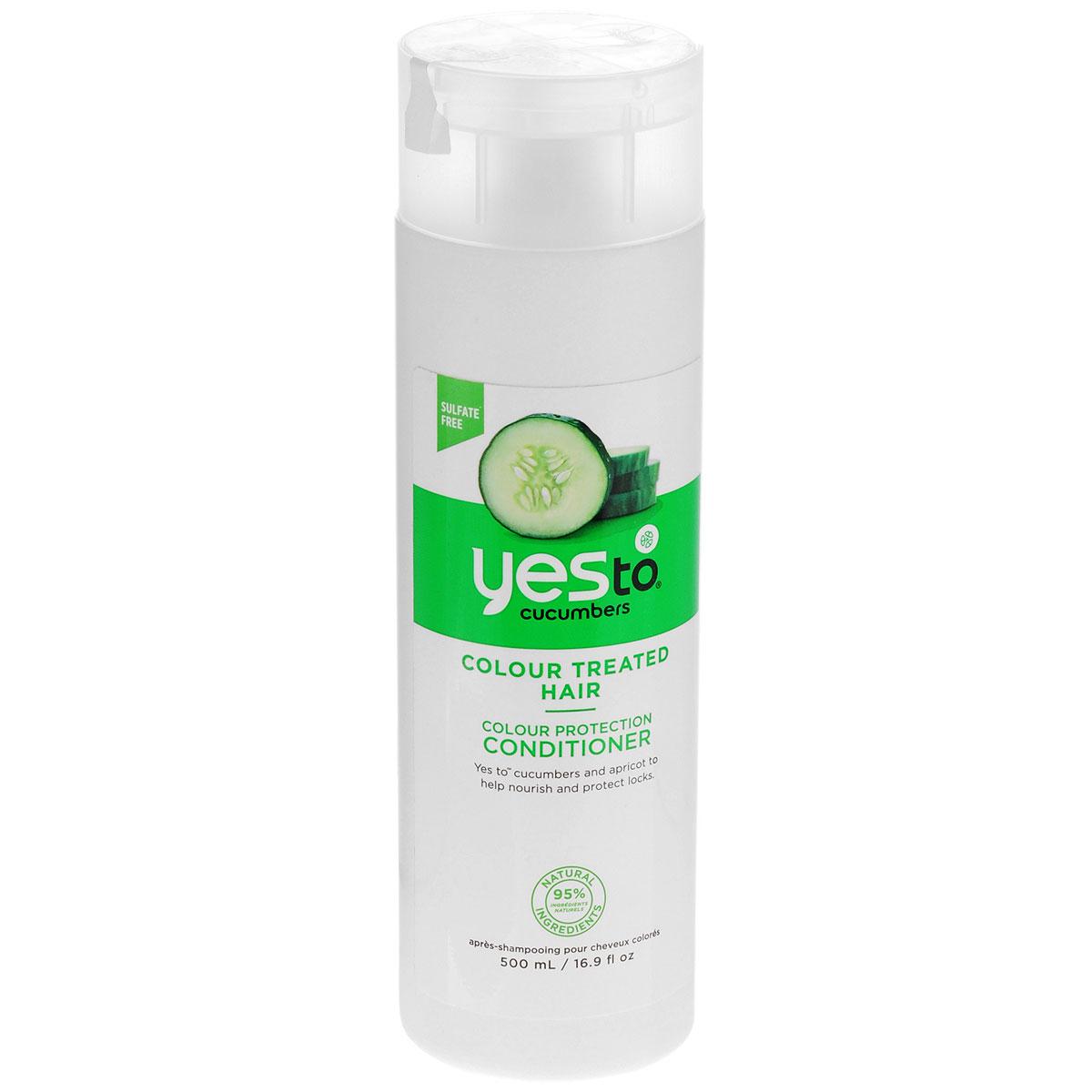 Yes To Cucumbers Кондиционер для волос Color Care Conditioner, для окрашенных и поврежденных волос, 500 мл3215103Кондиционер для волос Yes to cucumbers предназначен для ежедневного применения. Разработан специально для ухода за окрашенными и поврежденными волосами. Входящие в состав кондиционера органический огурец, родниковая вода и зеленый чай, эффективно увлажняют, придают блеск волосам и препятствуют их спутыванию. Также в состав кондиционера входит экстракт василька, который содержит смесь сильных антиоксидантов, сохраняющих цвет волос и защищающих их от обесцвечивания. Товар сертифицирован.