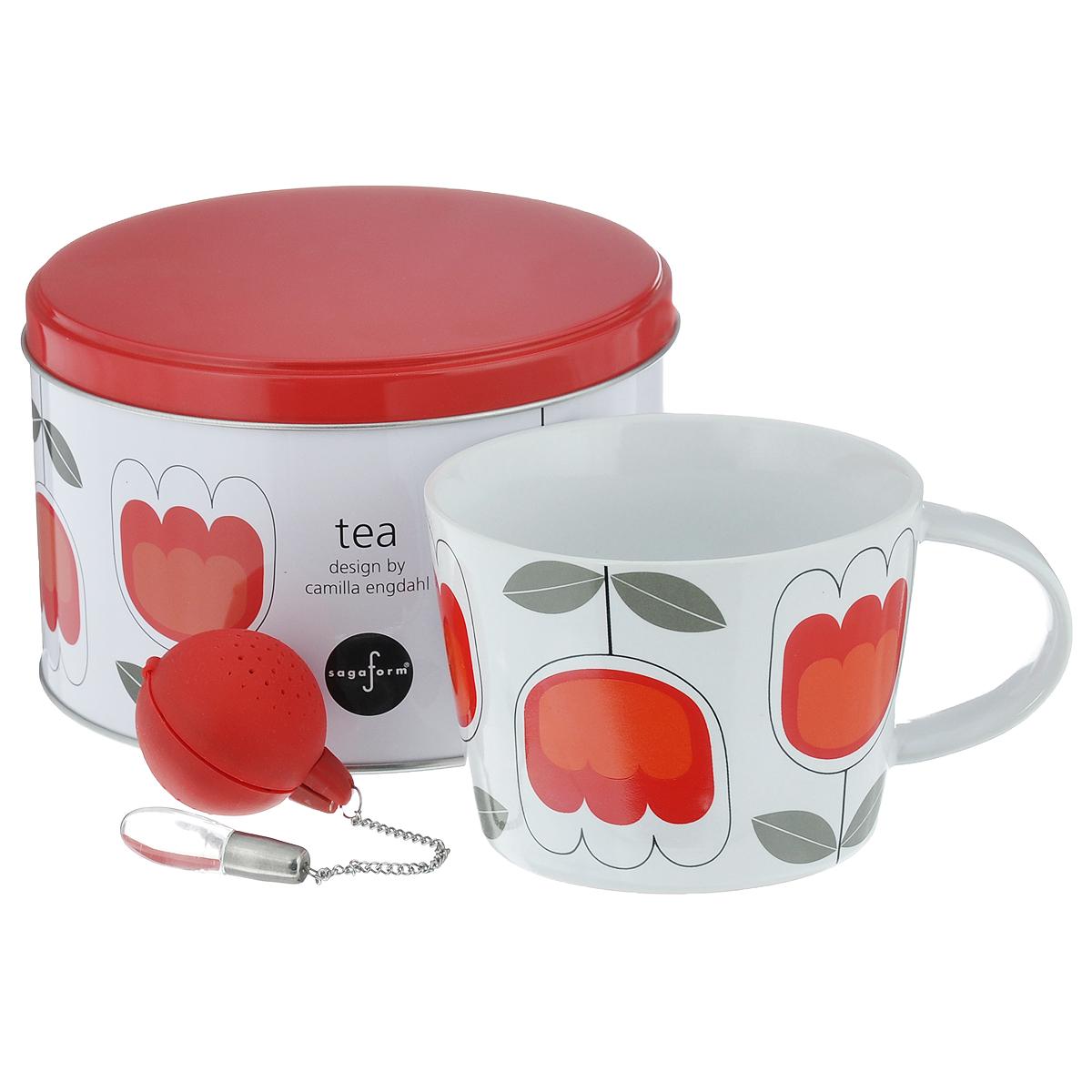 Набор чайный Sagaform Tea, цвет: красный, белый, 2 предмета5015360Набор чайный Sagaform Tea состоит из кружки, изготовленной из высококачественной керамики, и ситечка для заваривания чая. Круглое силиконовое ситечко оснащено стальной цепочкой со стеклянной подвеской, благодаря чему ситечко удобно доставать из кружки. Внешние стенки кружки оформлены цветочным узором. Предметы набора располагаются в круглой металлической банке с крышкой. Оригинальный скандинавский дизайн и функциональность сделают чайный набор Sagaform Tea желанным подарком! Объем кружки: 400 мл. Диаметр кружки по верхнему краю: 10,5 см. Диаметр дна кружки: 8,5 см. Высота стенок кружки: 8 см. Диаметр ситечка: 4 см.