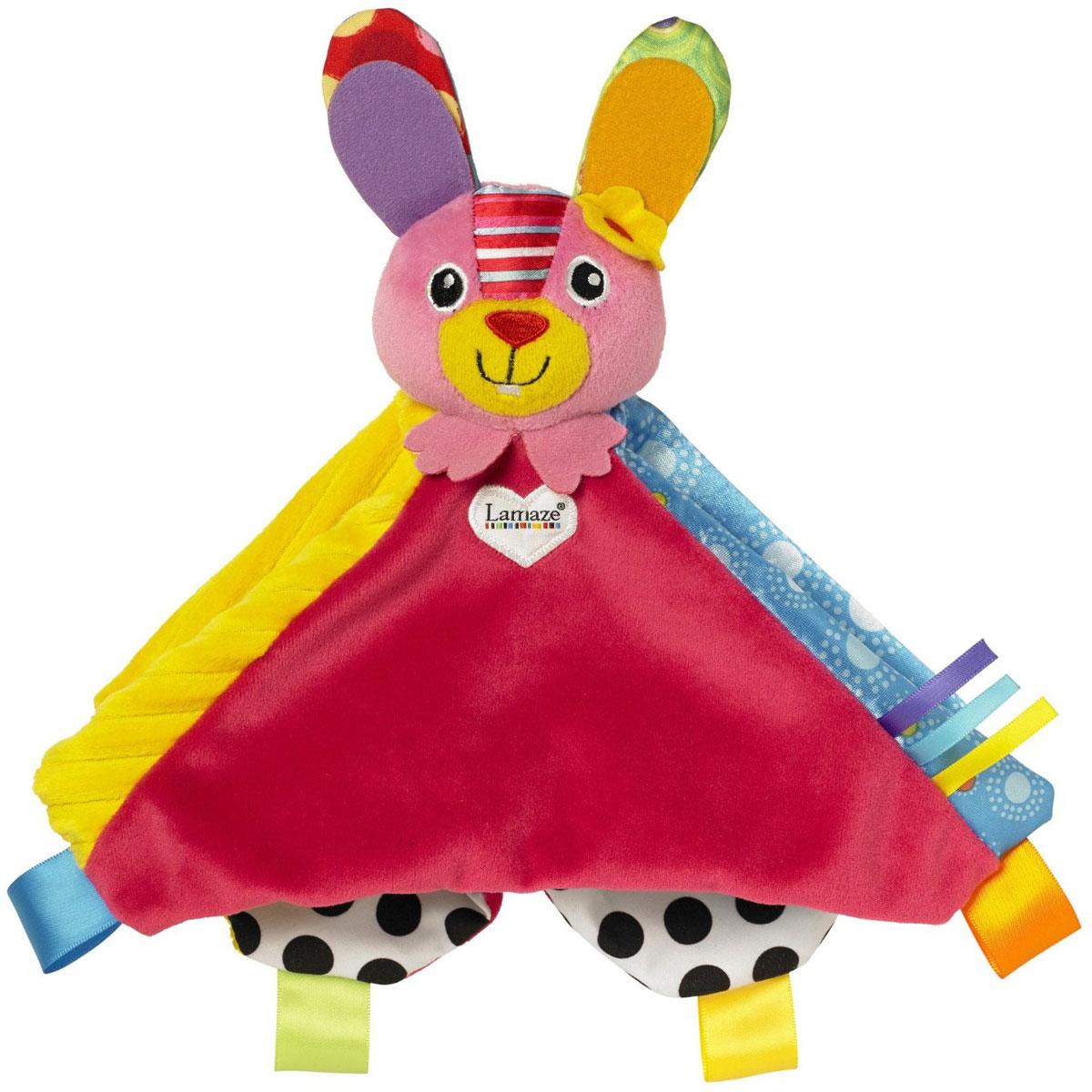 Lamaze Мягкая игрушка-погремушка Зайка БеллаLC27624RUЯркая мягкая игрушка-погремушка Lamaze Зайка Белла создана специально для самых маленьких. Легкая и удобная для детских ручек игрушка выполнена в виде забавного зайчика. Изделие изготовлено из приятных на ощупь гипоаллергенных материалов, полностью безопасных для здоровья. Голова зайчика является погремушкой, а тело выполнено в виде разноцветного одеяльца. Такая оригинальная игрушка способствует развитию внимания, слухового и зрительного восприятия и мелкой моторики.
