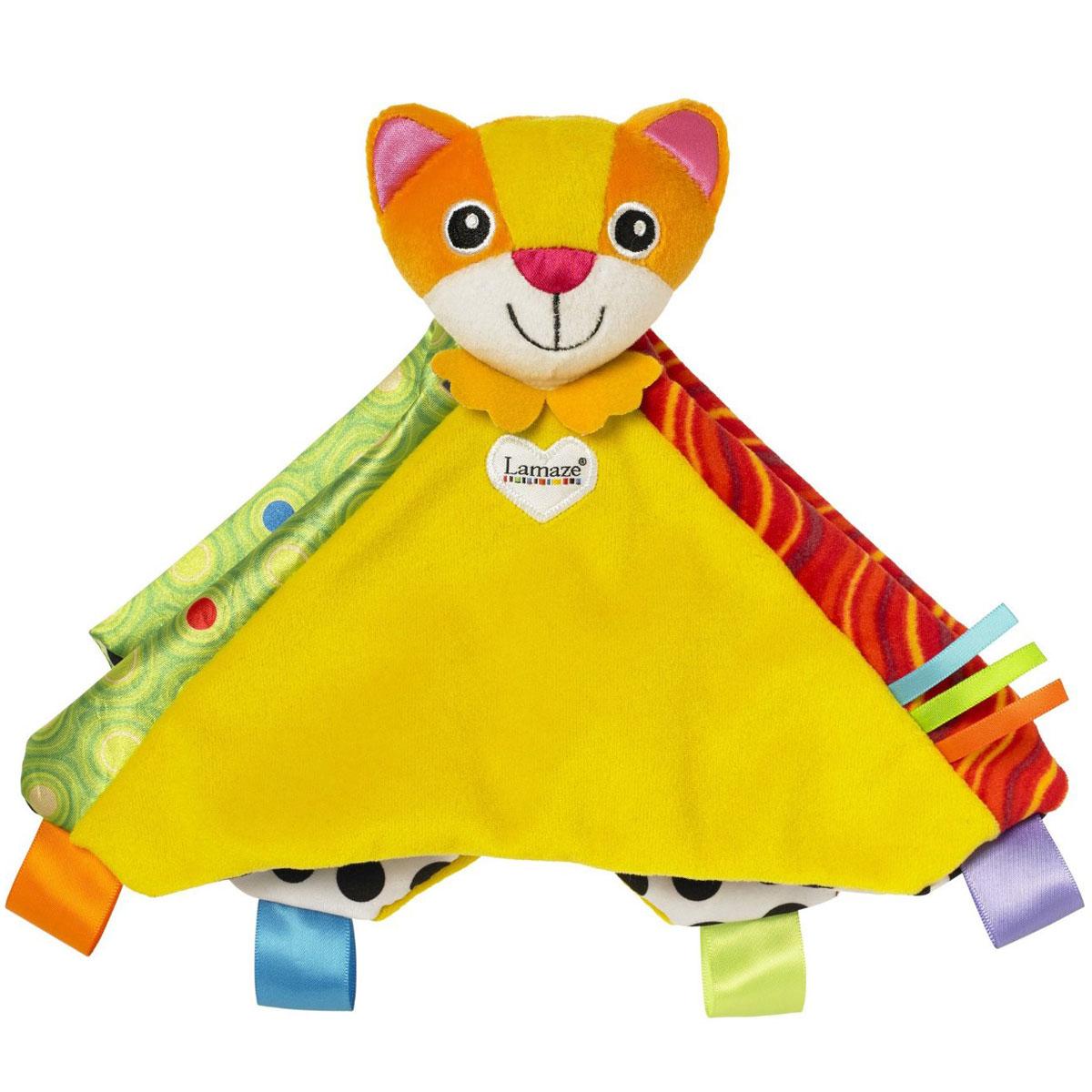 Lamaze Мягкая игрушка-погремушка Котенок МиттиLC27623RUМягкая игрушка-погремушка Lamaze Котенок Митти создана специально для самых маленьких. Легкая и удобная для детских ручек игрушка выполнена в виде симпатичного котенка. Изделие изготовлено из приятных на ощупь гипоаллергенных материалов, полностью безопасных для здоровья. Голова котенка является погремушкой, а тело выполнено в виде разноцветного одеяльца. Такая оригинальная игрушка способствует развитию внимания, слухового и зрительного восприятия и мелкой моторики.