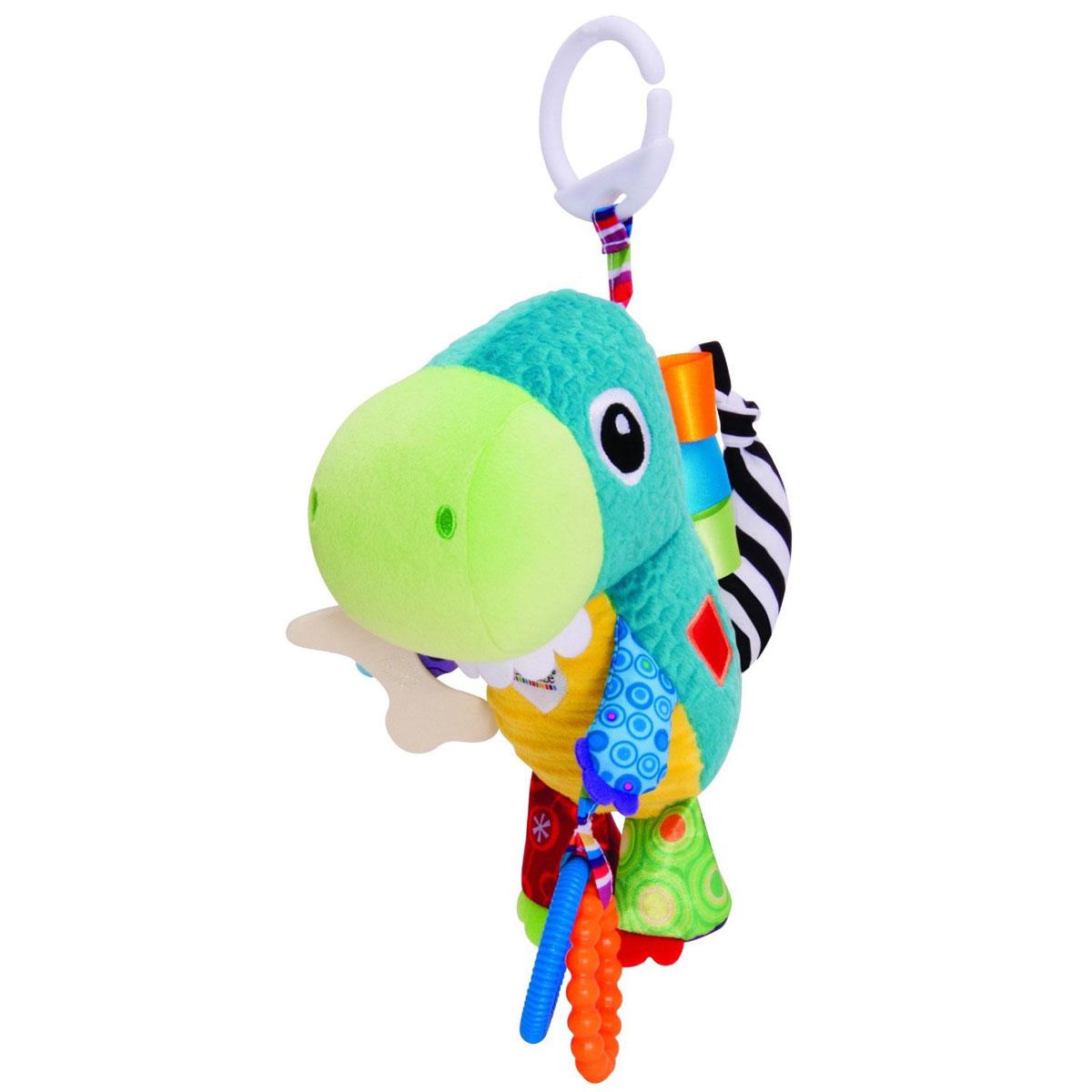 Lamaze Мягкая игрушка-подвеска Динозавр ТоринLC27552RUМягкая игрушка-подвеска Lamaze Динозавр Торин станет любимой игрушкой крохи. Выполнена из качественных и безопасных для детей материалов в виде очаровательного динозаврика. Изготовлена игрушка- подвеска из ярких разноцветных кусочков ткани, различных по своей текстуре, а также у нее множество мелких деталей, которые малыш будет с удовольствием изучать. В одной из лап динозаврика есть два колечка, которые отлично подойдут в качестве прорезывателей для зубов. Сверху к изделию крепится колечко, за которое игрушку можно подвесить на коляску или в кроватку. Мягкая игрушка-подвеска способствует развитию мелкой моторики, тактильных ощущений, стимулирует цветовосприятие и учит концентрировать внимание.