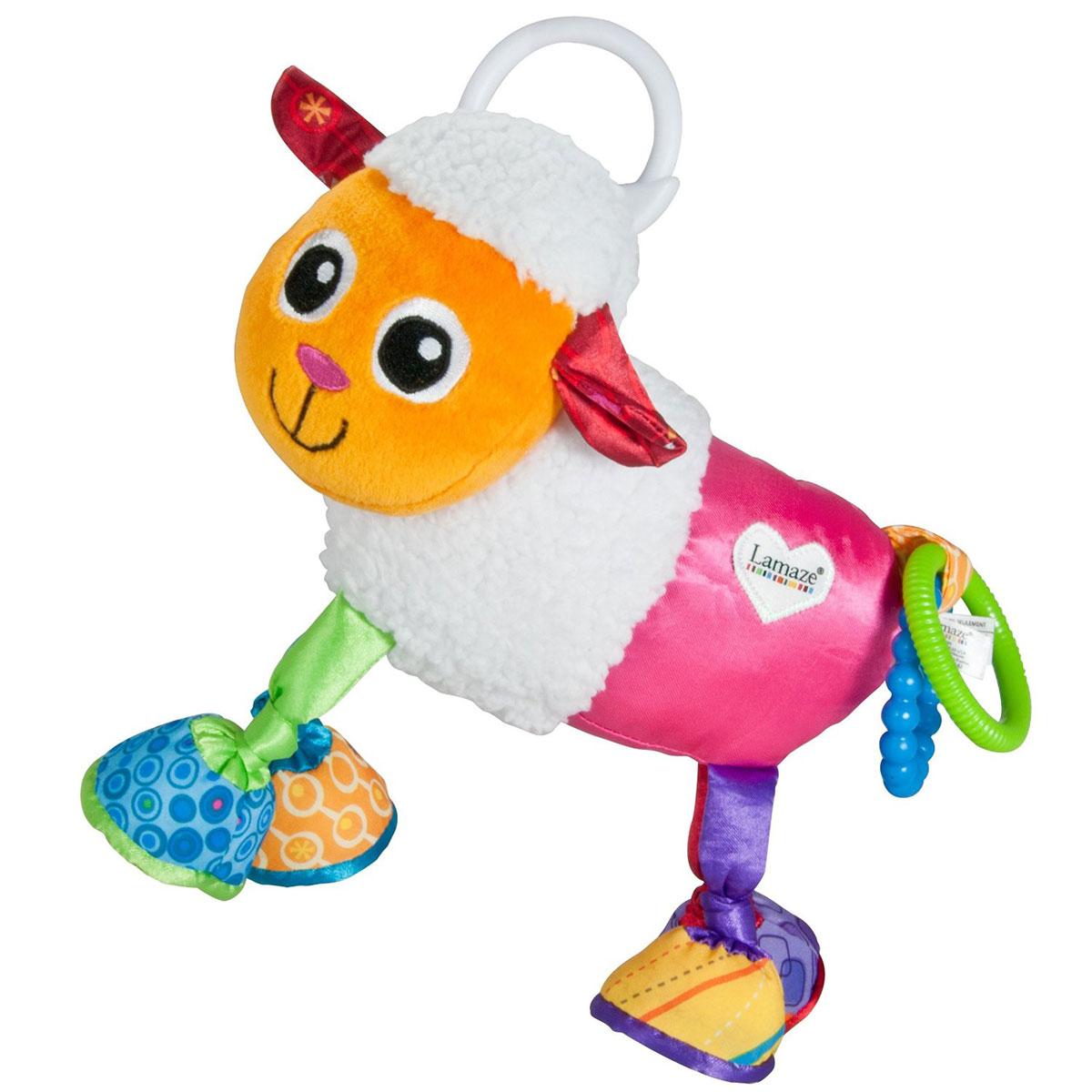 Lamaze Мягкая игрушка-подвеска Овечка ШеремиLC27551RUМягкая игрушка-подвеска Lamaze Овечка Шереми обязательно привлечет внимание вашего малыша. Выполнена в виде симпатичной овечки с мягкими шелестящими копытцами и ушками. Изготовлена из высококачественных и безопасных материалов. Это веселая игрушка, которую можно прикрепить как к кроватке, так и к коляске. А еще очень интересно просто держать ее в руках, ведь на хвостике овечки стучат друг об друга два пластиковых колечка. Игрушка-подвеска способствует развитию мелкой моторики, сенсорному и цветовому восприятию.