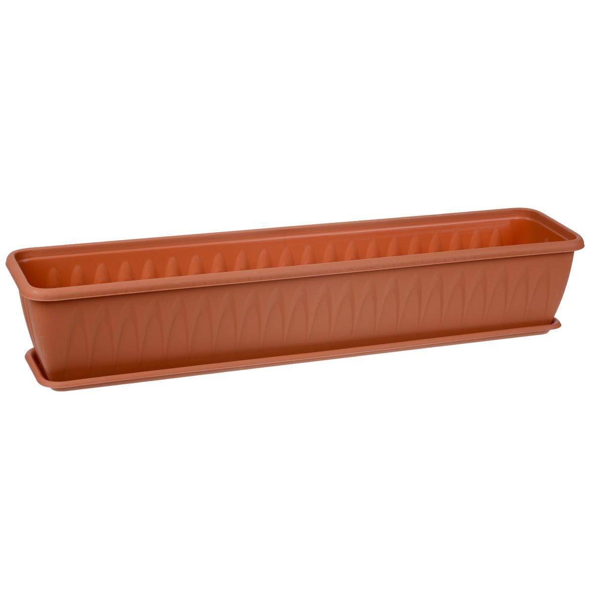 Балконный ящик Idea Алиция, с поддоном, цвет: терракотовый, 80 х 18 смМ 3216Балконный ящик Idea Алиция изготовлен из прочного полипропилена (пластика). Снабжен поддоном для стока воды. Изделие прекрасно подходит для выращивания рассады, растений и цветов в домашних условиях.