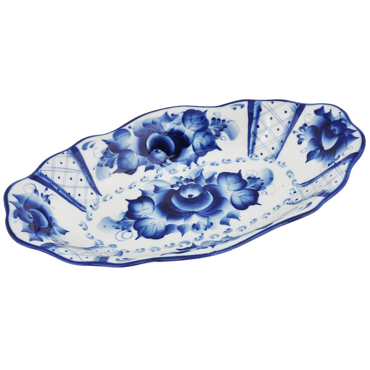 Лоток Гранд средний. 993011331993011331Обращаем ваше внимание, что роспись на изделиях сделана вручную. Рисунок может немного отличаться от изображения на фотографии. Цвет: белый/синий