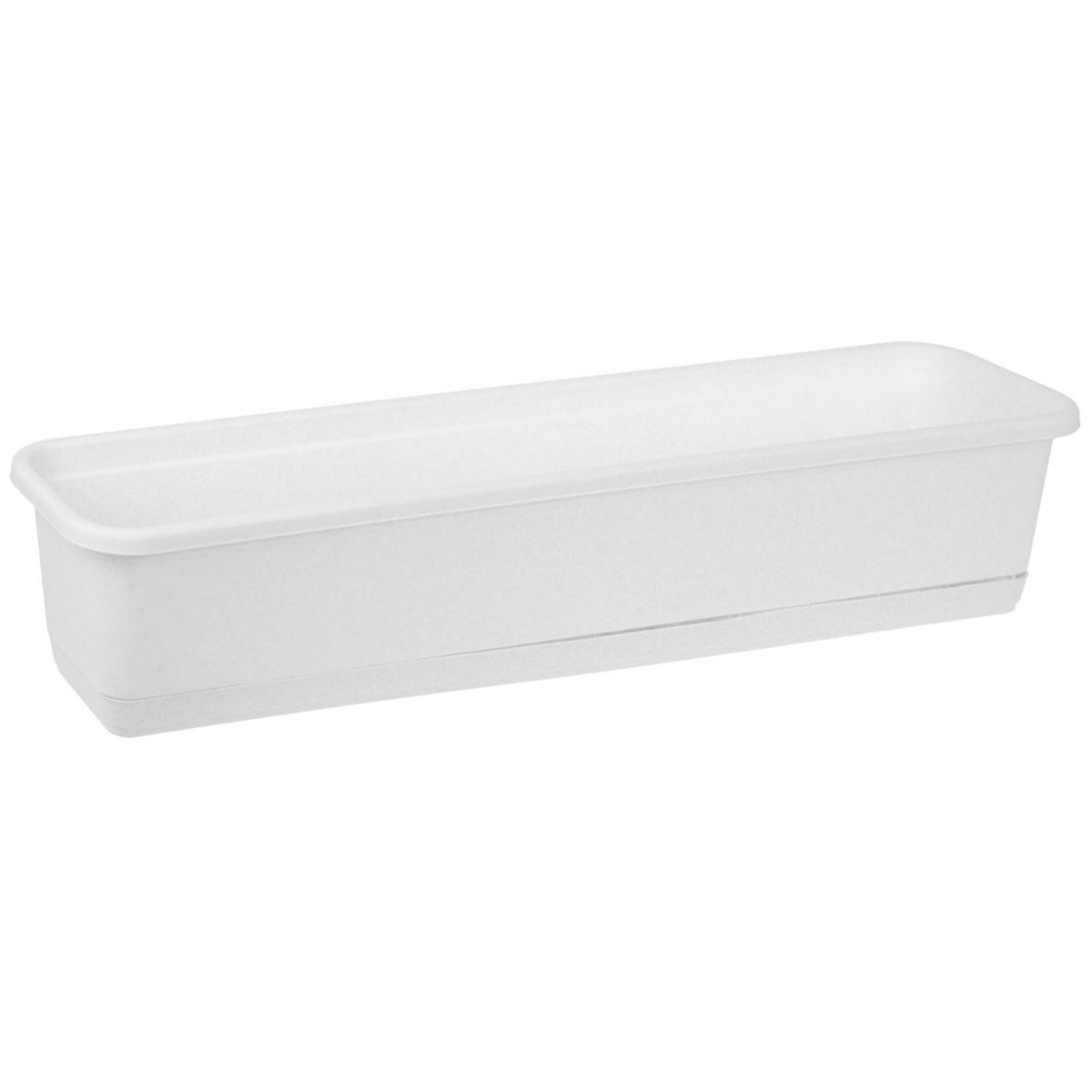 Балконный ящик Idea, цвет: мраморный, 80 см х 18 смМ 3222Балконный ящик Idea изготовлен из прочного полипропилена (пластика). Снабжен поддоном для стока воды. Изделие прекрасно подходит для выращивания рассады, растений и цветов в домашних условиях.
