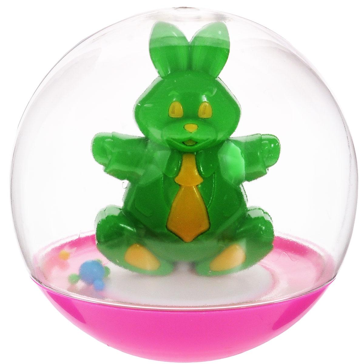 Stellar Погремушка-неваляшка Заяц, 10 см, цвет: зеленый1_заяц, зеленыйПогремушка-неваляшка Stellar Заяц не позволит скучать вашему малышу на улице, дома и во время водных процедур. Игрушка выполнена из полипропилена в виде симпатичного зайца в прозрачном круглом шаре. Неваляшка забавно покачивается под приятный звук погремушки, развлекая малыша. Неваляшка развивает мелкую моторику, координацию, слух и цветовое восприятие.