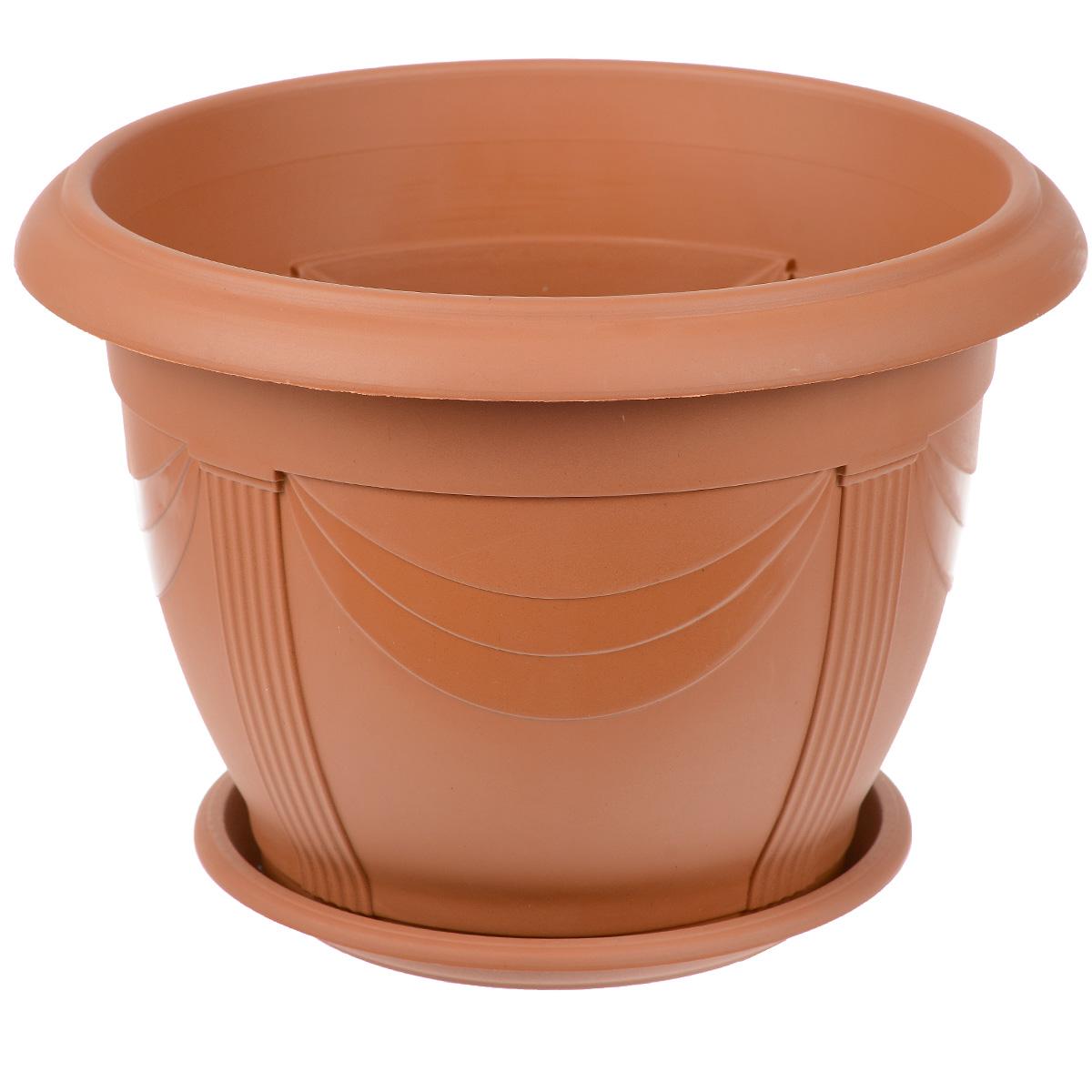 Кашпо Ludu Флора, с поддоном, диаметр 36 смХТ3705вывКашпо Ludu Флора изготовлено из высококачественного пластика. Специальный поддон предназначен для стока воды. Изделие прекрасно подходит для выращивания растений и цветов в домашних условиях. Лаконичный дизайн впишется в интерьер любого помещения.