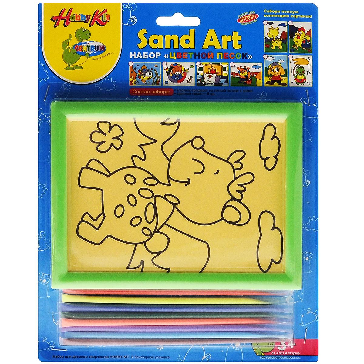 Centrum Набор для создания картины из цветного песка Жираф82457_жирафНабор для создания картины из цветного песка Centrum Жираф обязательно порадует вашего малыша. С его помощью ребенок сможет своими руками создать необычную картину из цветного песка с изображением забавного жирафа. В набор уже входит все необходимое для творчества: картинка-трафарет в пластиковой рамке и кварцевый песок 8 цветов (красный, желтый, синий, зеленый, оранжевый, фиолетовый, голубой, коричневый). Создать картину из цветного песка совсем несложно - на основу уже нанесен контур рисунка. Постепенно снимайте защитный слой с трафареты и засыпайте цветной песок нужного цвета на клейкую поверхность. Затем подождите, пока песок высохнет - и объемная картина из цветного песка готова! Готовую картину можно оформить входящей в комплект рамкой. Простой и увлекательный процесс создания картины подарит вашему малышу массу удовольствия, и поможет развить мелкую моторику рук, аккуратность, творческое мышление и художественный вкус. Готовая картина из цветного песка станет...