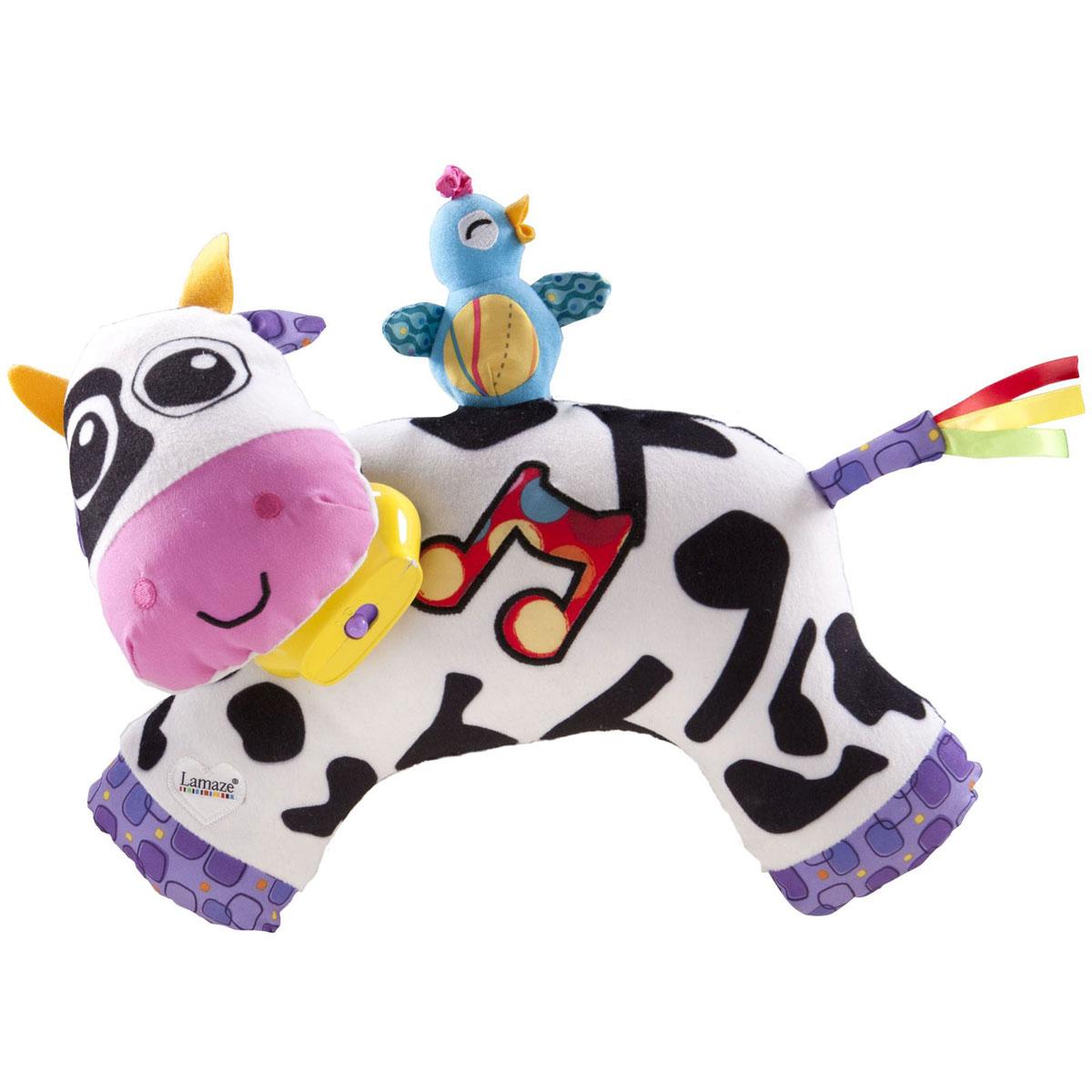Lamaze Развивающая игрушка Музыкальная коровкаLC27560RUУдивительная развивающая игрушка Lamaze Музыкальная коровка изготовлена из абсолютно безвредных материалов. Необычный насыщенный колорит и сочетание контрастных цветов сразу же привлекут внимание крохи. Представлена игрушка в виде доброй и обаятельной коровы. На шее у животного колокольчик. Эта музыкальная игрушка имеет три режима игры: мычание, звук колокольчиков или мелодии сегментов. Каждое пятно играет свою отдельную музыкальную ноту и дарит море удовольствия ребенку. Игрушка способствует развитию первичных навыков (внимательности, наблюдательности, мелкой моторики), повышению коэффициента эмоциональности (вызывает улыбку и смех) и познания в целом. Эта милая игрушка надолго увлечет вашего малыша, и поможет ему весело и с пользой провести время. Для работы игрушки рекомендуется докупить 2 батарейки напряжением 1,5V типа ААА (товар комплектуется демонстрационными).