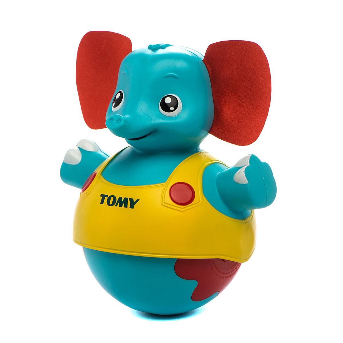 Tomy Развивающая игрушка Слоник учится ходить, озвученнаяE72228RUРазвивающая игрушка Tomy Слоник учится ходить - это забавный слоник-неваляшка с мягкими текстильными ушками и задорной улыбкой, который научит вашего кроху сначала ползать, а потом ходить. У игрушки есть два режима работы. Первый режим подойдет для малыша, который еще не умеет ползать. Если поставить слоника на ровную поверхность и коснуться его головы, он начнет проигрывать музыку и двигаться вперед и назад. Для ребенка, который начал ползать, можно включить второй режим. Теперь слоник будет убегать от малыша, побуждая его двигаться за собой. Рычажок для переключения режимов расположен на задней части игрушки в районе шеи. Слоник-неваляшка изготовлен из прочного цветного пластика, полностью безопасного для детского здоровья. Для работы игрушки необходимы 3 батарейки напряжением 1,5V типа ААА (не входят в комплект).