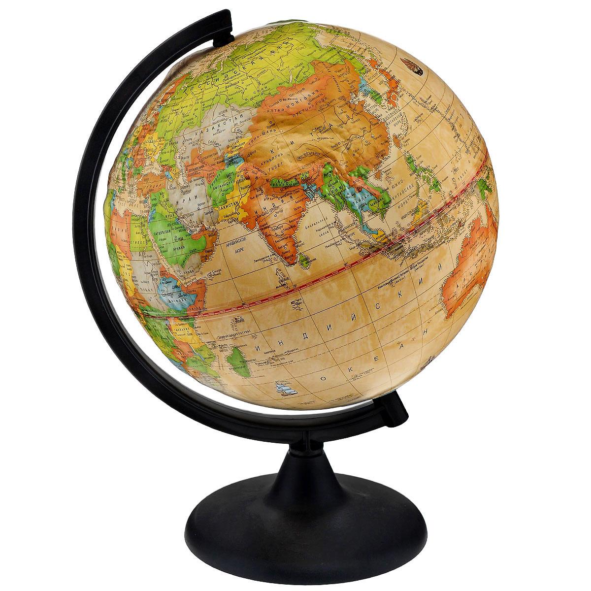 Глобусный мир Глобус с политической картой, Ретро-Александр, рельефный, диаметр 25 см10178Глобус Ретро-Александр в ретро стиле с политической картой мира выполнен в высоком качестве, с четким и ярким изображением. Он даст представление о политическом устройстве мира. На нем отображены линии картографической сетки, показаны границы государств и демаркационные линии, столицы и крупные населенные пункты, линия перемены дат. Глобус легко вращается вокруг своей оси. Подставка черного цвета изготовлена из прочного пластика. Глобус является уменьшенной и практически не искаженной моделью Земли и предназначен для использования в качестве наглядного картографического пособия, а также для украшения интерьера квартир, кабинетов и офисов. Красочность, повышенная наглядность визуального восприятия взаимосвязей, отображенных на глобусе объектов и явлений, в сочетании с простотой выполнения по нему различных измерений делают глобус доступным широкому кругу потребителей для получения разнообразной познавательной, научной и справочной информации о Земле. Масштаб:...