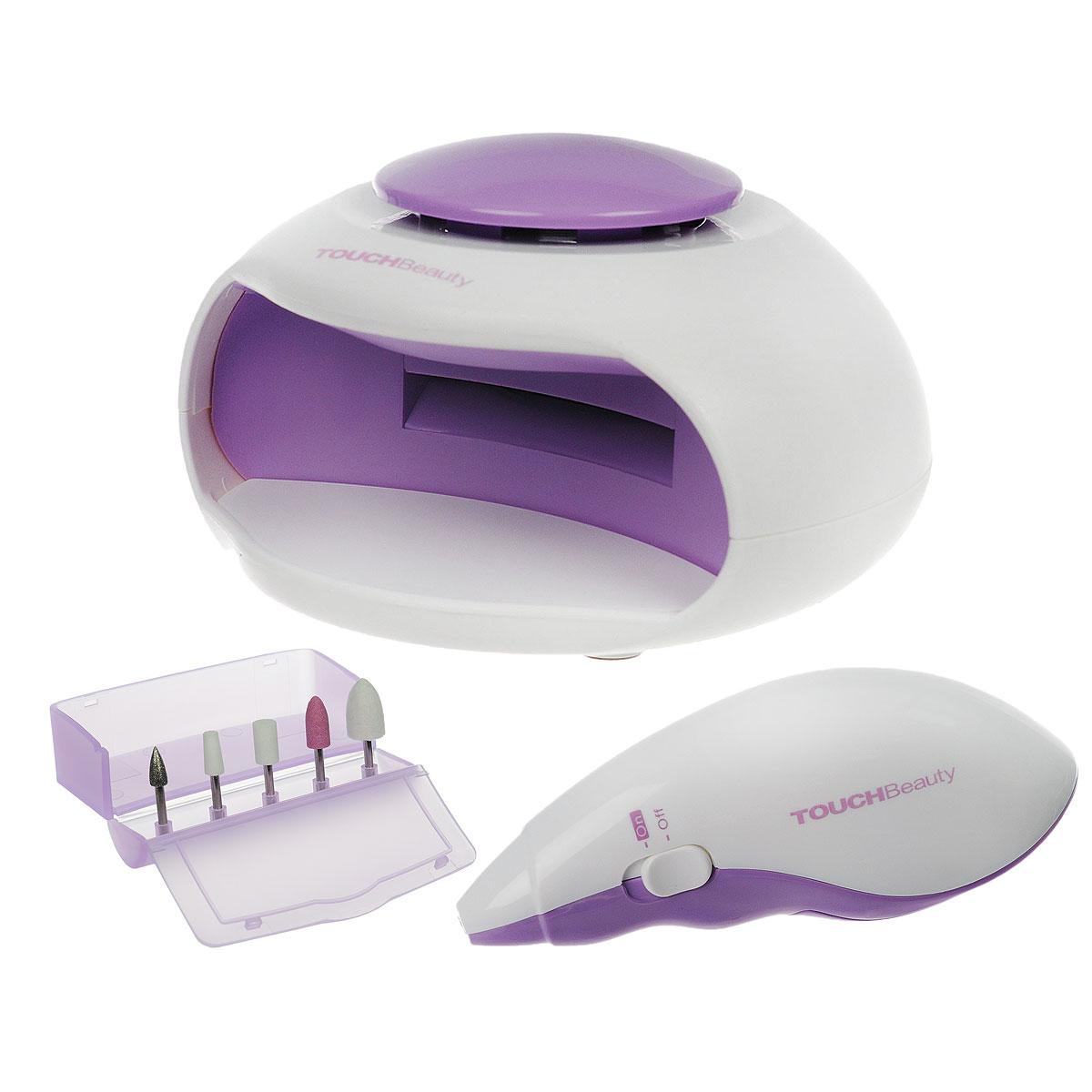 """Touchbeauty Маникюрный набор 2в1 Nail Beauty Kit, цвет: сиреневый. AS-1002AS-1002_сиреневыйУниверсальный маникюрно-педикюрный набор 2в1 """"Nail Beauty Kit"""" - для заботливого ухода за ногтями. В комплекте: электроприбор для профессионального маникюра, 5 насадок, УФ-электросушка для быстрого высыхания лака, футляр для хранения насадок. Прибор для маникюра используется для ухода за ногтями - формирования, полировки. Электрическая сушилка для ногтей предназначена для финальной сушки лака. Насадки: Насадка для кутикулы - формирует край ногтя и устраняет кутикулу; Насадка для формирования - полирует поверхность или тонкий передний край акрилового или натурального ногтя; Карборундовая насадка - измельчает акриловый ноготь для обеих сторон и по задней кромке; Конусная насадка - для полировки заднего края акрилового ногтя, чтобы получить гладкую поверхность на стыке с натуральным ногтем; Войлочная насадка - полировка поверхности для получения блеска. Прибор работает от 2 батареек типа ААА, Уф-электросушка - от 3 батареек типа ААА..."""