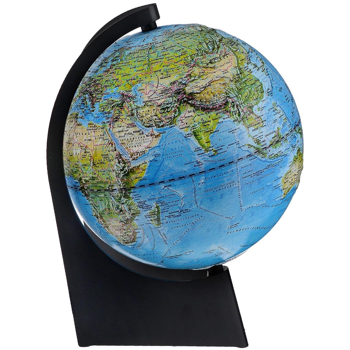 Глобусный мир Глобус с физической/политической картой, рельефный, диаметр 21 см, с подсветкой, на подставке10290Географический рельефный глобус с физической и политической картой мира станет незаменимым атрибутом обучения не только школьника, но и студента. На глобусе отображены линии картографической сетки, гидрографическая сеть, рельеф суши и морского дна, крупнейшие населенные пункты, теплые и холодные течения. На глобусе также указаны названия стран и их границы. Глобус является уменьшенной и практически не искаженной моделью Земли и предназначен для использования в качестве наглядного картографического пособия, а также для украшения интерьера квартир, кабинетов и офисов. Красочность, повышенная наглядность визуального восприятия взаимосвязей, отображенных на глобусе объектов и явлений, в сочетании с простотой выполнения по нему различных измерений делают глобус доступным широкому кругу потребителей для получения разнообразной познавательной, научной и справочной информации о Земле. Глобус на оригинальной пластиковой подставке, с подсветкой. Масштаб: 1:60000000.