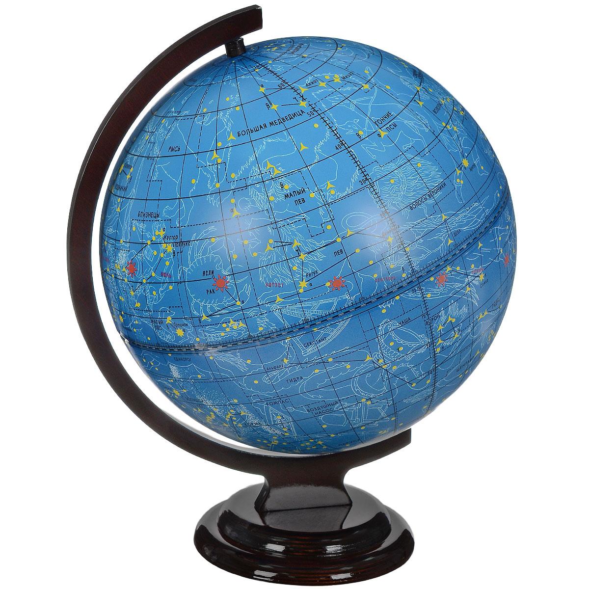 Глобусный мир Глобус звездного неба, диаметр 32 см. 1006510065Глобус звездного неба Глобусный мир, изготовлен из высококачественного прочного пластика. Данная модель предназначена для ознакомления с космосом, звездами и созвездиями. На нем нанесены те же круги, что и на картах звёздного неба, - небесные параллели, меридианы, экватор и эклиптика. Такой глобус станет прекрасным подарком и учебным материалом для дальнейшего изучения астрономии. Помимо этого, глобус обладает приятной цветовой гаммой. Изделие расположено на деревянной подставке. Настольный глобус звездного неба Глобусный мир станет оригинальным украшением рабочего стола или вашего кабинета. Это изысканная вещь для стильного интерьера, которая станет прекрасным подарком для современного преуспевающего человека, следующего последним тенденциям моды и стремящегося к элегантности и комфорту в каждой детали. Масштаб: 1:40 000 000.