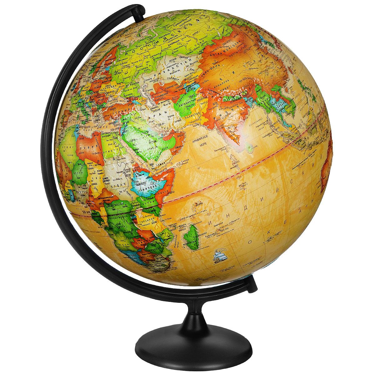 Глобусный мир Глобус с политической картой мира Ретро-Александр рельефный диаметр 42 см10348Глобус с политической картой мира Ретро-Александр изготовлен из высококачественного прочного пластика. Данная модель показывает страны мира, сухопутные и морские границы того или иного государства, расположение городов и населенных пунктов. Изделие расположено на подставке. На нем отображены картографические линии: параллели и меридианы, а также градусы и условные обозначения. На глобусе нанесен рельеф, который отчетливо показывает рельеф местности и горные массивы. Все страны мира раскрашены в разные цвета. Глобус с политической картой мира станет незаменимым атрибутом обучения не только школьника, но и студента. Названия стран на глобусе приведены на русской язык. Глобус с политической картой мира Ретро-Александр станет оригинальным украшением рабочего стола или вашего кабинета. Это изысканная вещь для стильного интерьера, которая будет прекрасным подарком для современного преуспевающего человека, следующего последним тенденциям моды и стремящегося к элегантности и...