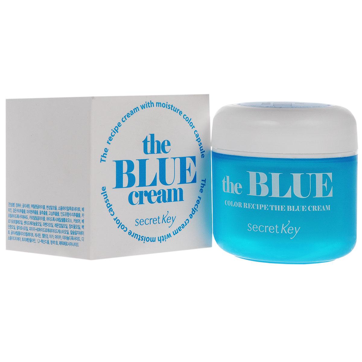 Secret Key Увлажняющий гель для лица Color Recipe the blue cream 55 гр93466Увлажняющий питательный крем с голубыми гранулами предназначен для сухой кожи лица. Гиалуроновая кислота в составе крема сохраняет влагу на поверхности кожи, повышает ее защитные свойства и освежает цвет лица.