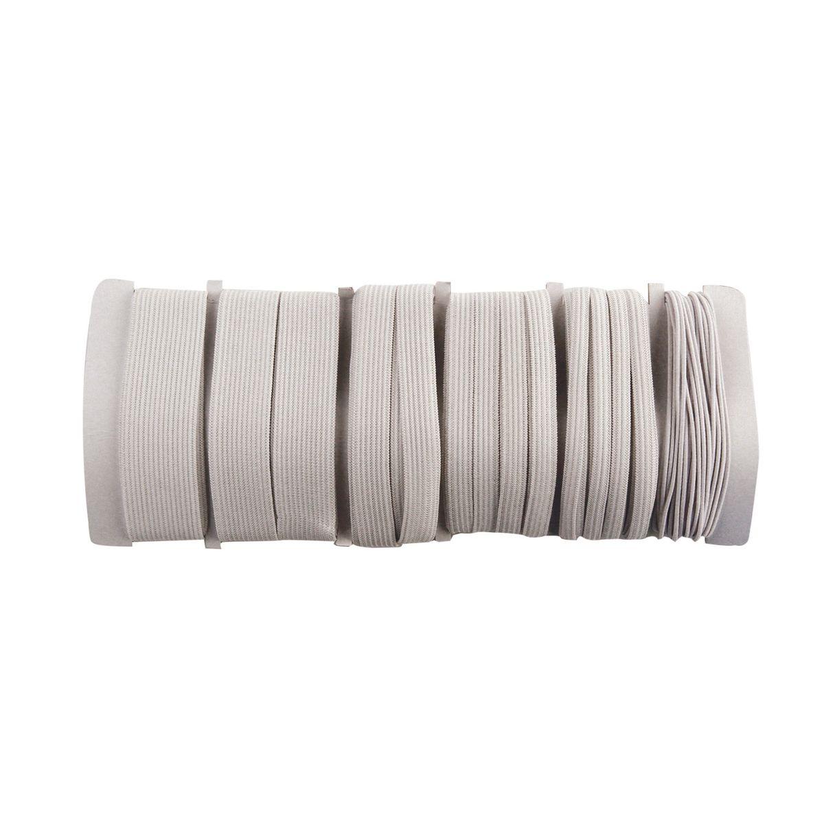 Набор эластичной ленты Kleiber, 6 шт710-15Набор Kleiber состоит из 6 видов эластичных лент: - диаметр 1,2 мм, длина 6 м (68% эластан, 32% полиэстер), - ширина 6 мм, длина 6 м (55% полиэстер, 45% эластан), - ширина 8 мм, длина 5 м (57% полиэстер, 43% эластан), - ширина 13 мм, длина 3 м (56% полиэстер, 44% эластан), - ширина 20 мм, длина 2 м (57% полиэстер, 43% эластан), - ширина 25 мм, длина 1 м (58% полиэстер, 42% эластан), Комплектация: 6 шт.