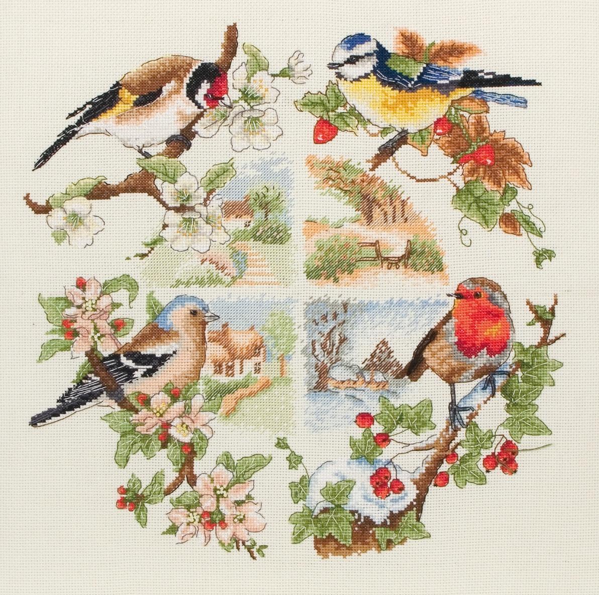 Набор для вышивания Anchor Birds And Seasons /Птицы и времена года/ 30*30см (состав: канва Aida 16, цветная схема, нитки Anchor, игла, инструкция), счетный крестPCE880Набор для вышивания Anchor Birds And Seasons /Птицы и времена года/ 30*30см (состав: канва Aida 16, цветная схема, нитки Anchor, игла, инструкция), счетный крест